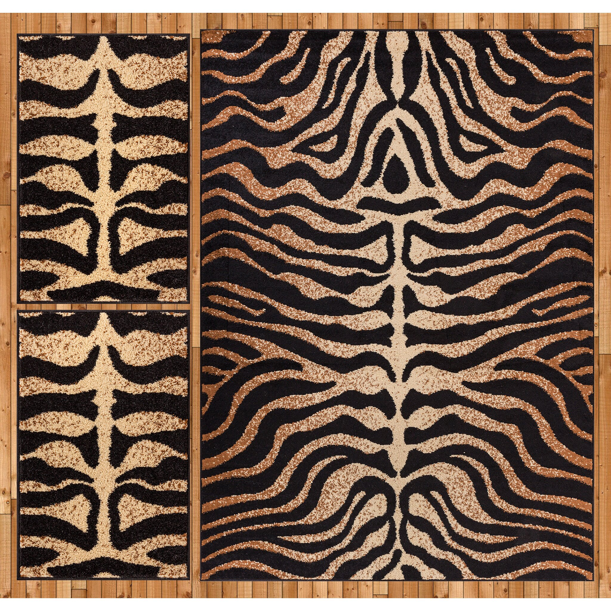 Well woven royal court 3 piece black brown area rug set for Geometric print area rugs