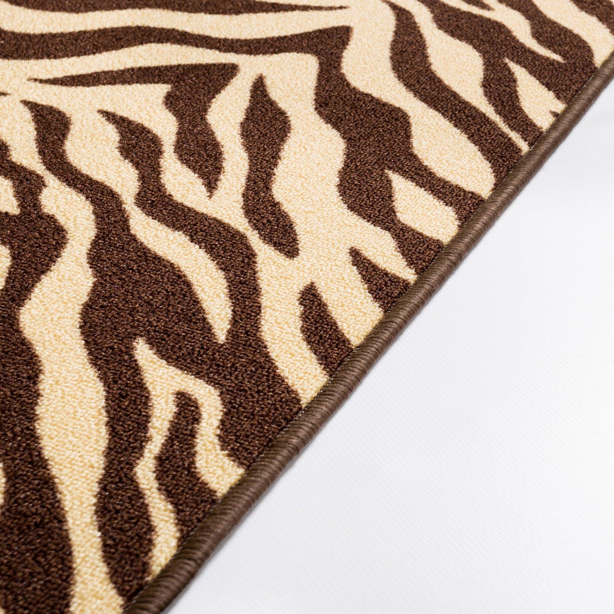 Well woven kings court brown zebra animal print rug - Alfombras animal print ...