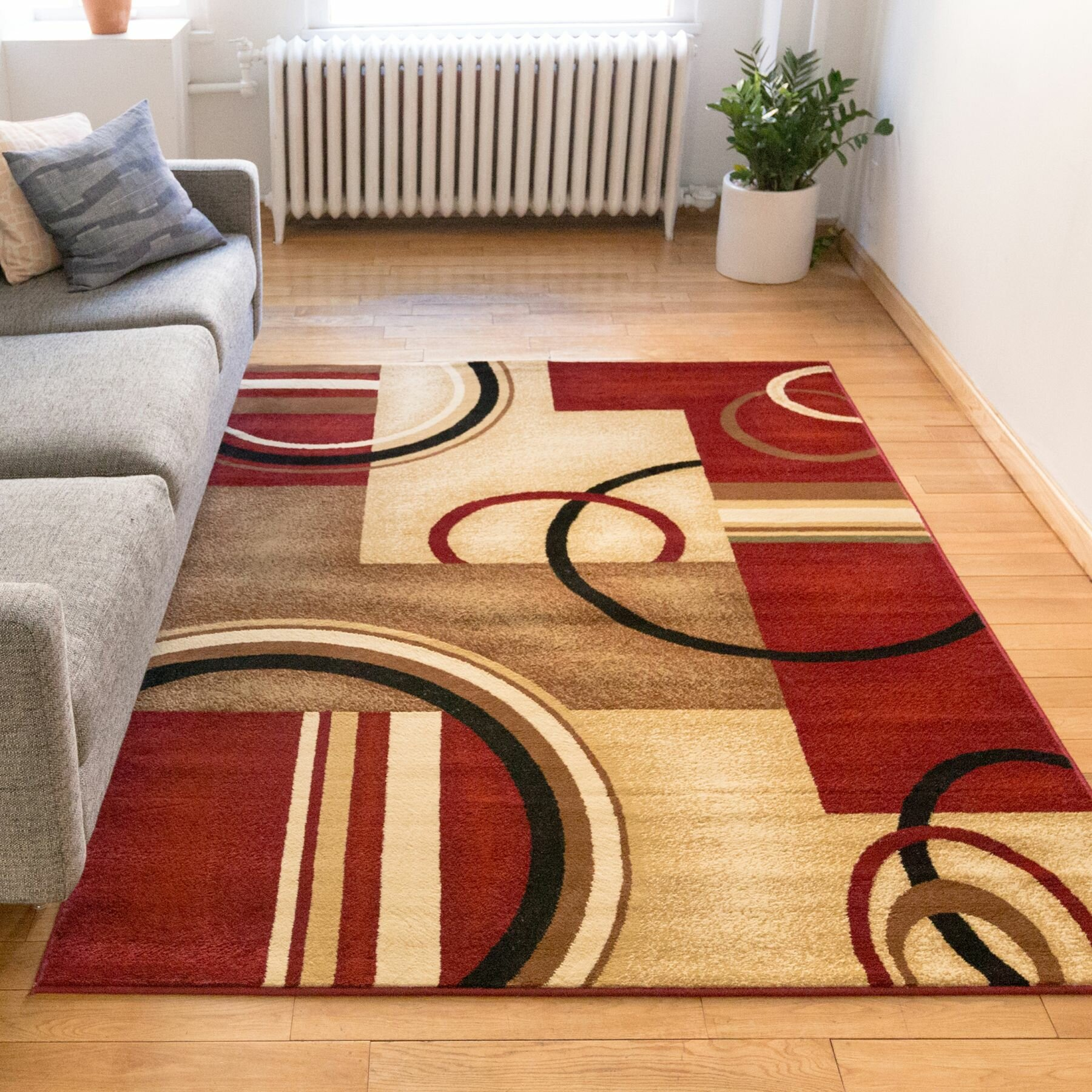 Well Woven Barcla Red Arcs Amp Shapes Area Rug Amp Reviews