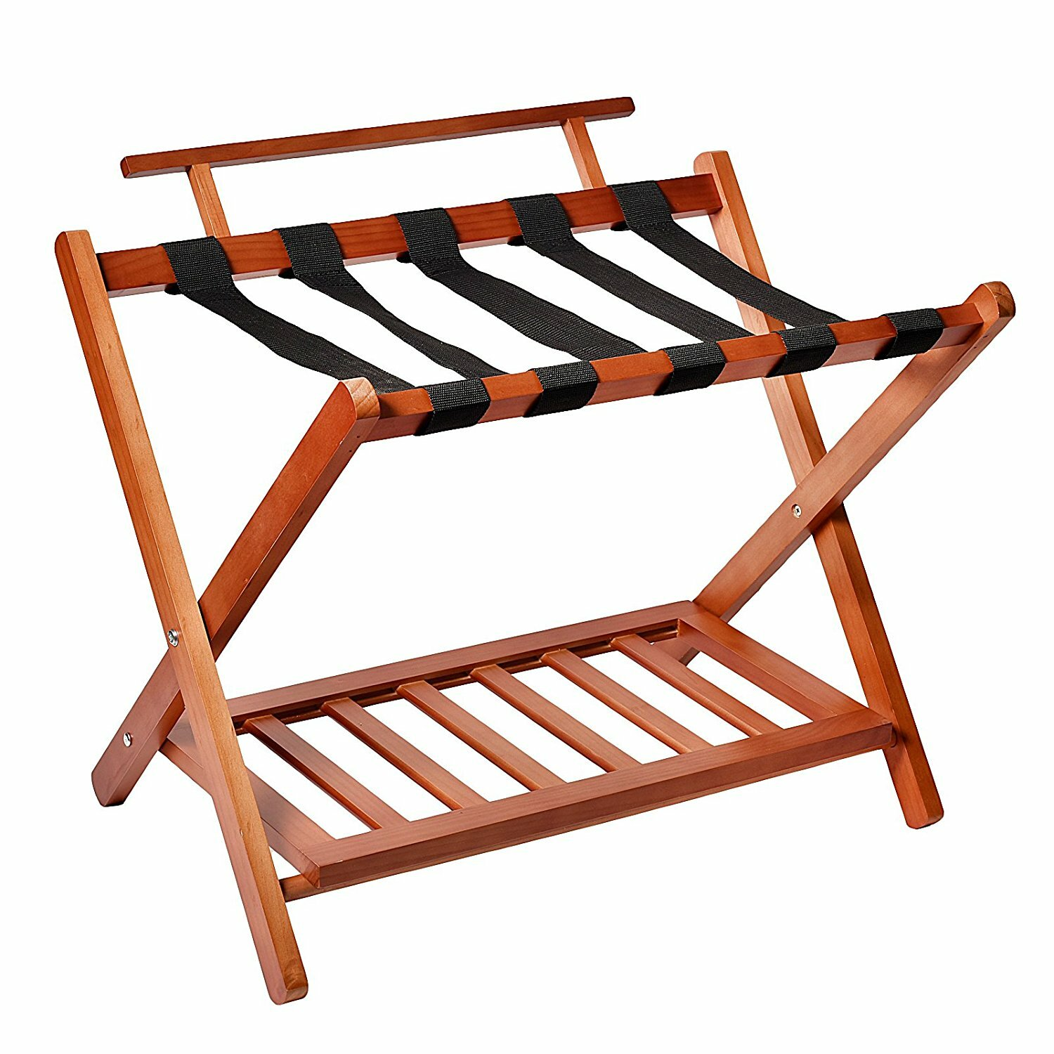 Welland Industries Llc Wood High Back Folding Luggage Rack Wayfair