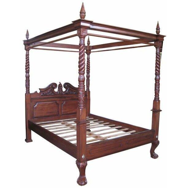 Prestington mahogany bed frame wayfair uk for Buy canopy bed frame