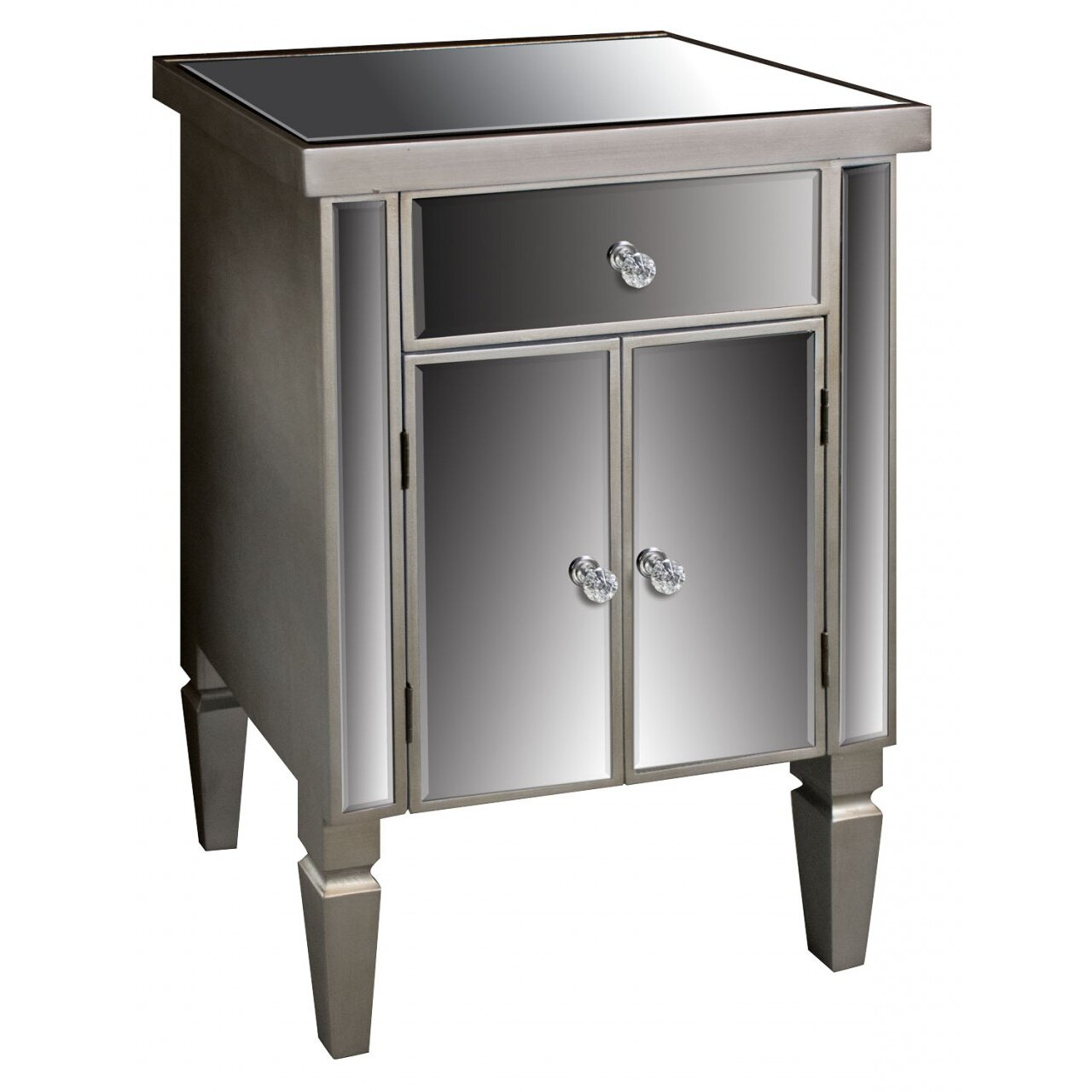 ch teau chic museum mirrored 1 drawer 2 door cabinet