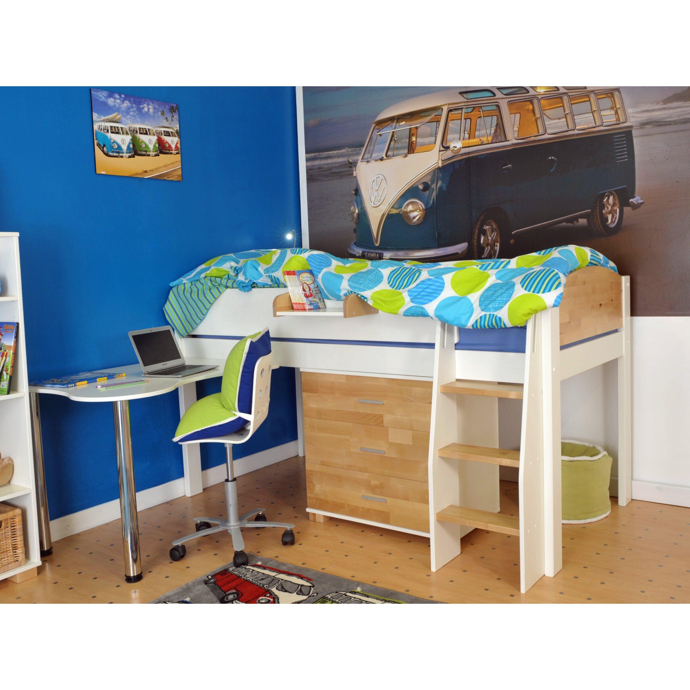 Wrigglebox Norfolk Single High Sleeper Bed with Storage ...
