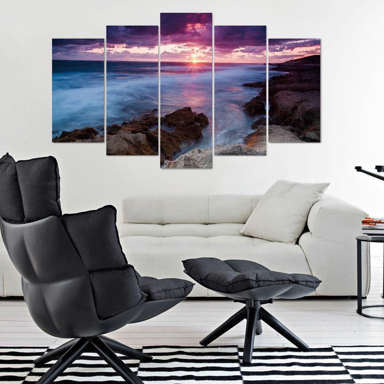Wall Decor Set Of 5 : Fj?rde co rekirple sky piece wall art set wayfair uk