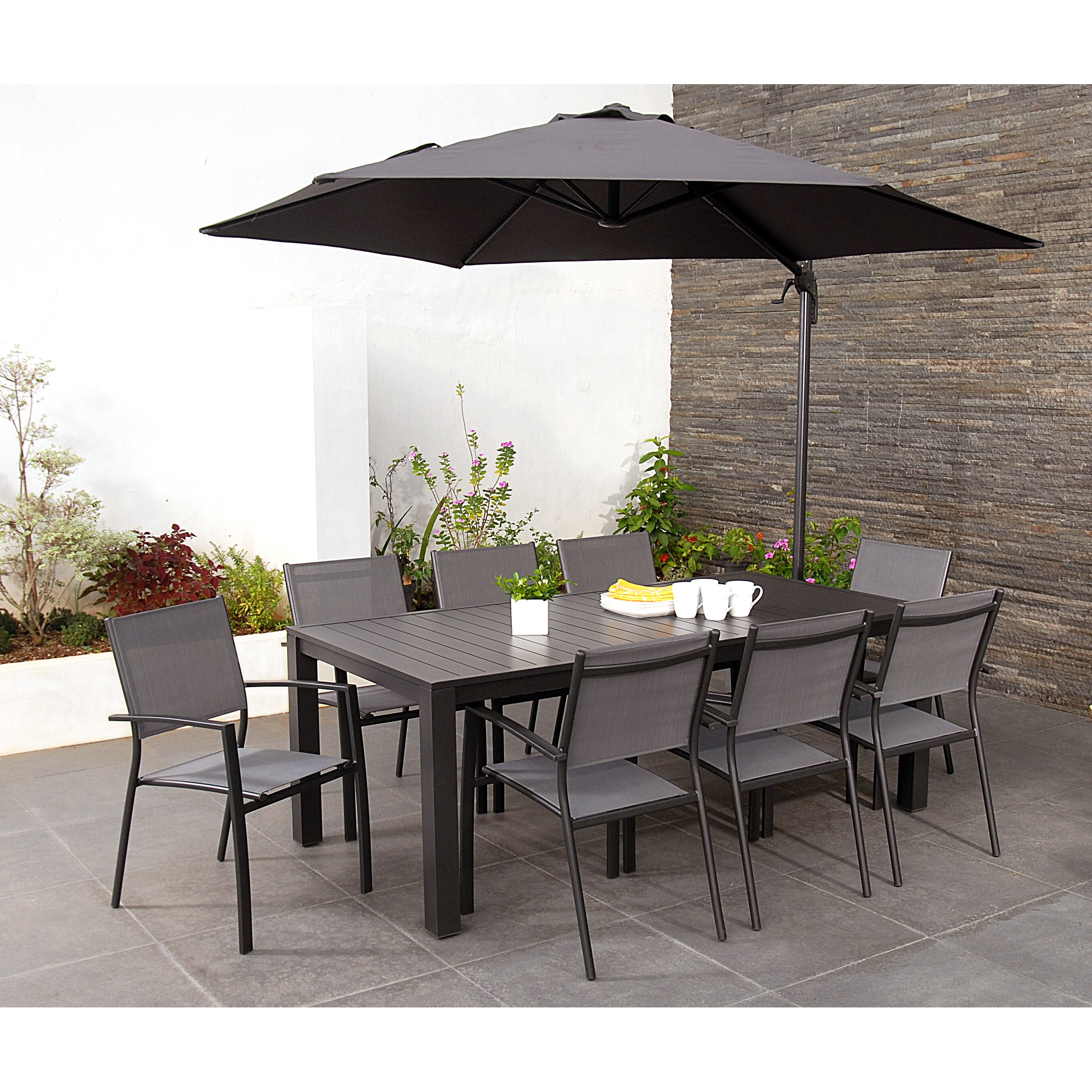 Homestead Living Elms 8 Seater Dining Set With Parasol