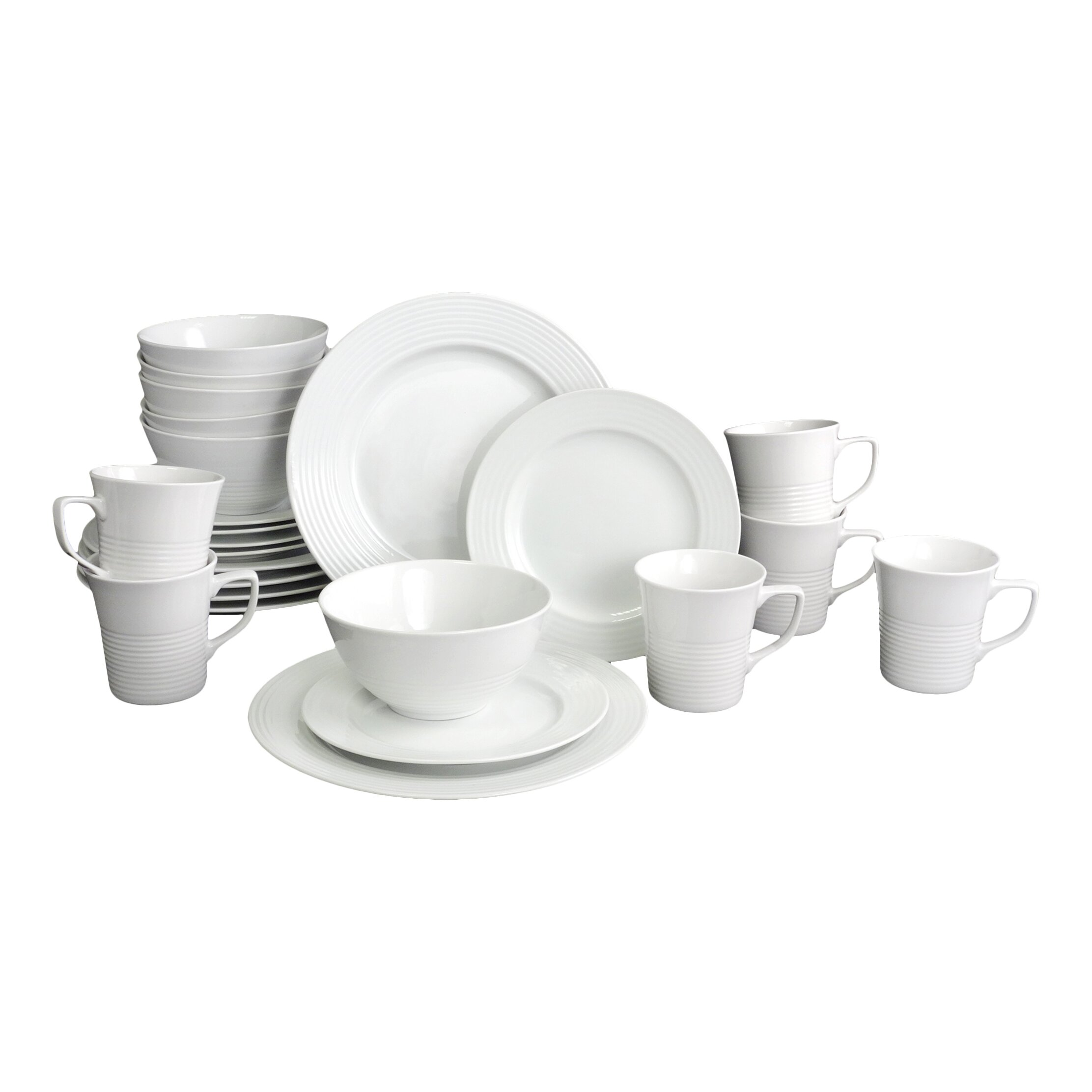 roulette embossed 24 piece porcelain dinnerware set by house additions