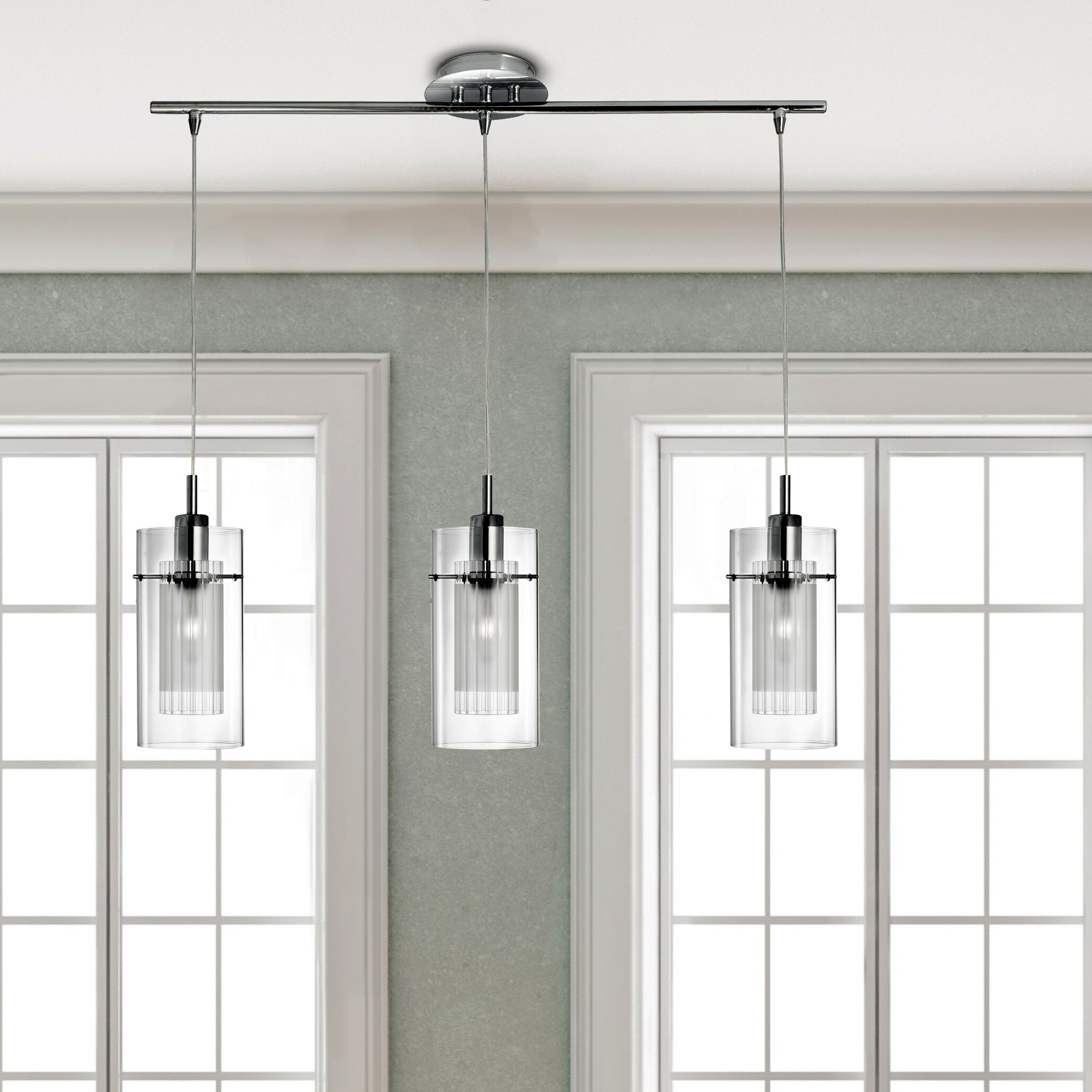 House additions duo 3 light kitchen island pendant for 3 light pendant island kitchen lighting