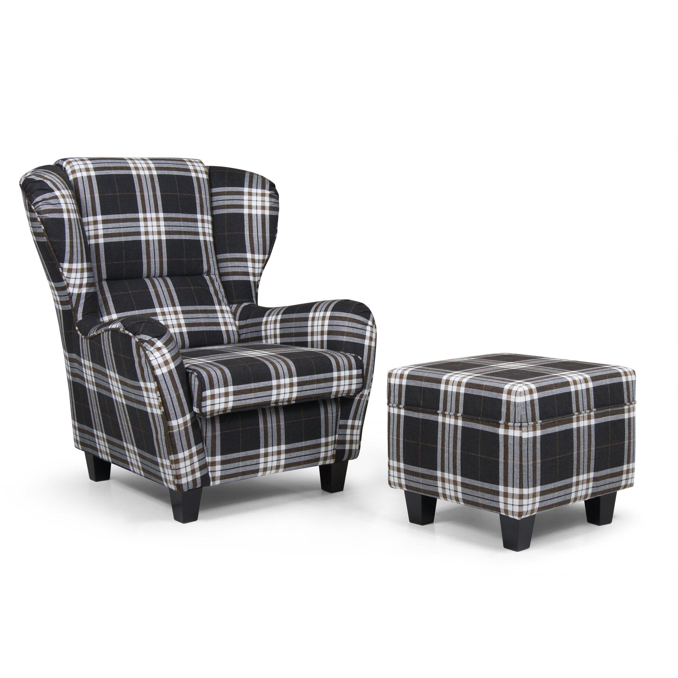 home haus ohrensessel birriei karo mit hocker. Black Bedroom Furniture Sets. Home Design Ideas