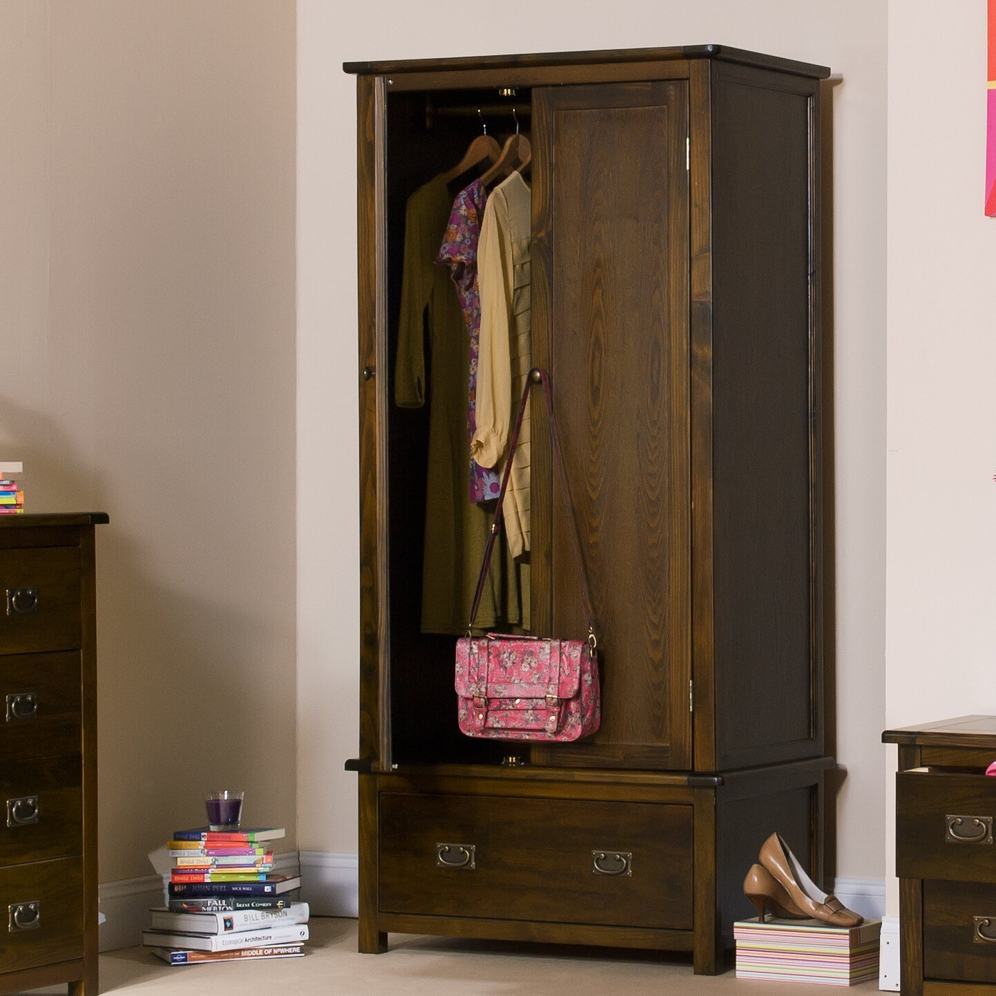 home haus kleiderschrank aster 190 cm h x 90 cm b x 55 cm t reviews. Black Bedroom Furniture Sets. Home Design Ideas