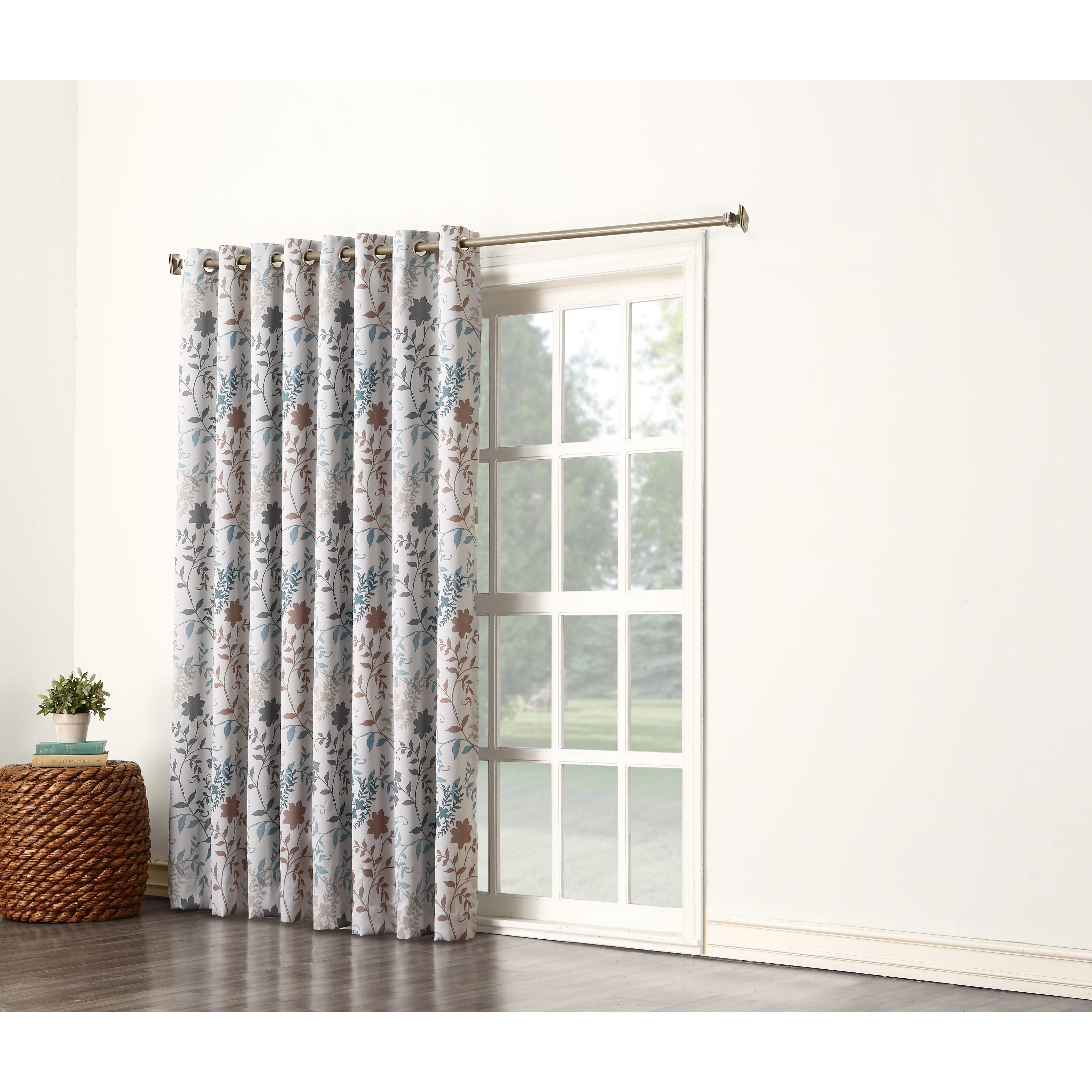 Sun Zero Auburn Floral Extra Wide Grommet Patio Door