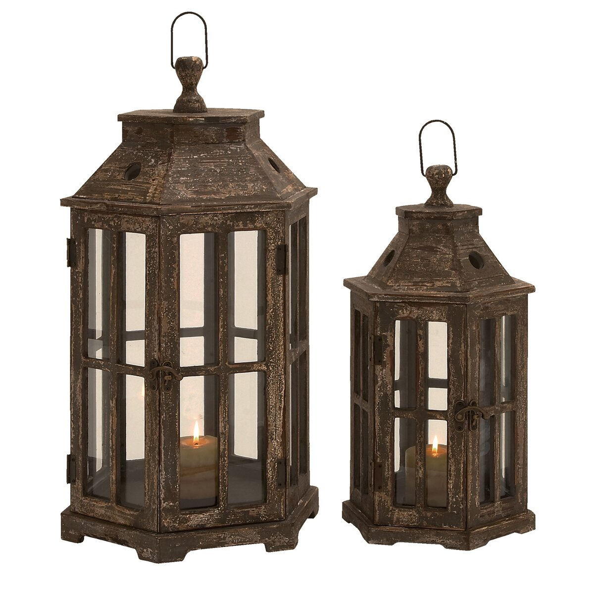 Ec World Imports Urban 2 Piece Wood Lantern Candle Holder