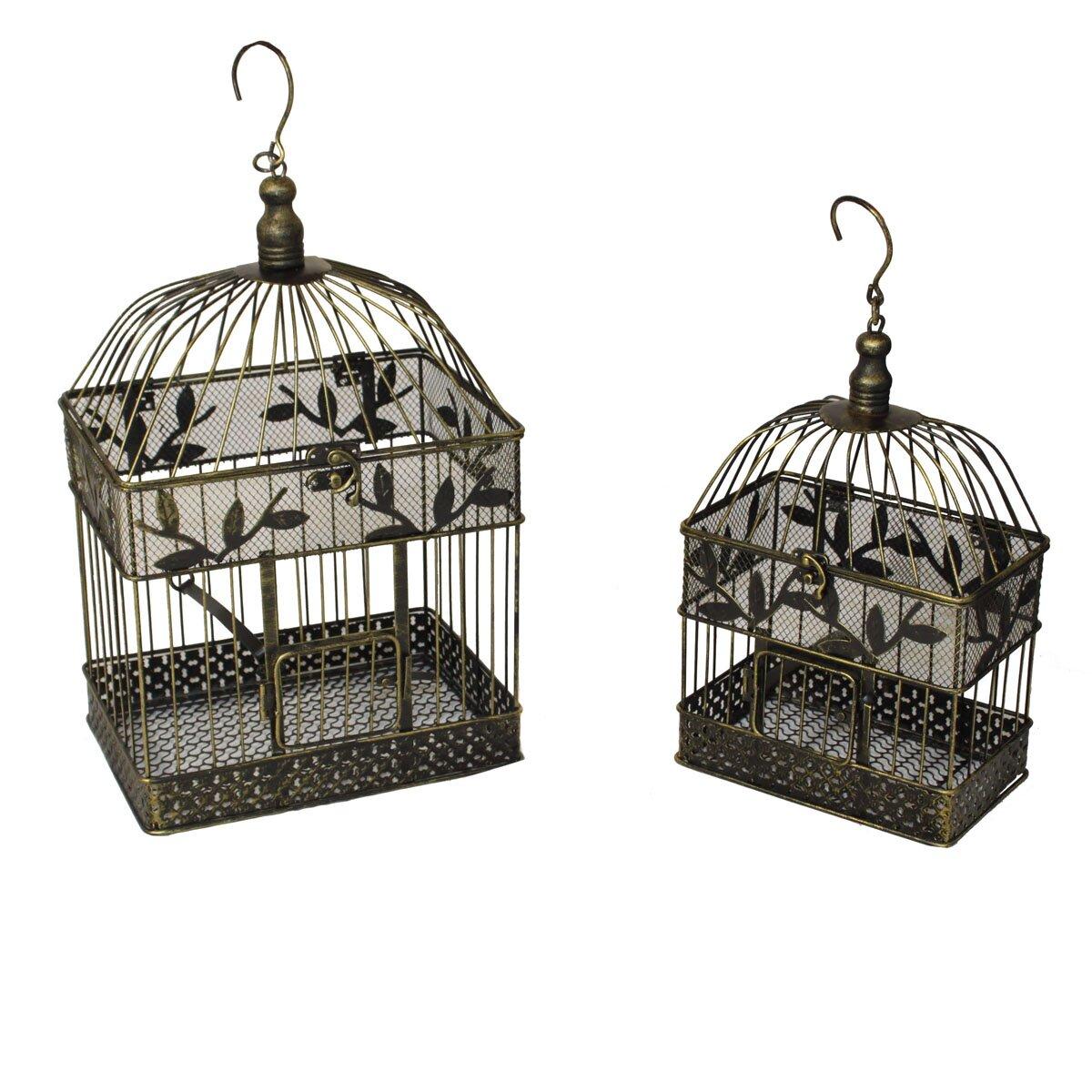 EC World Imports Urban 2 Piece Decorative Metal Bird Cages ...