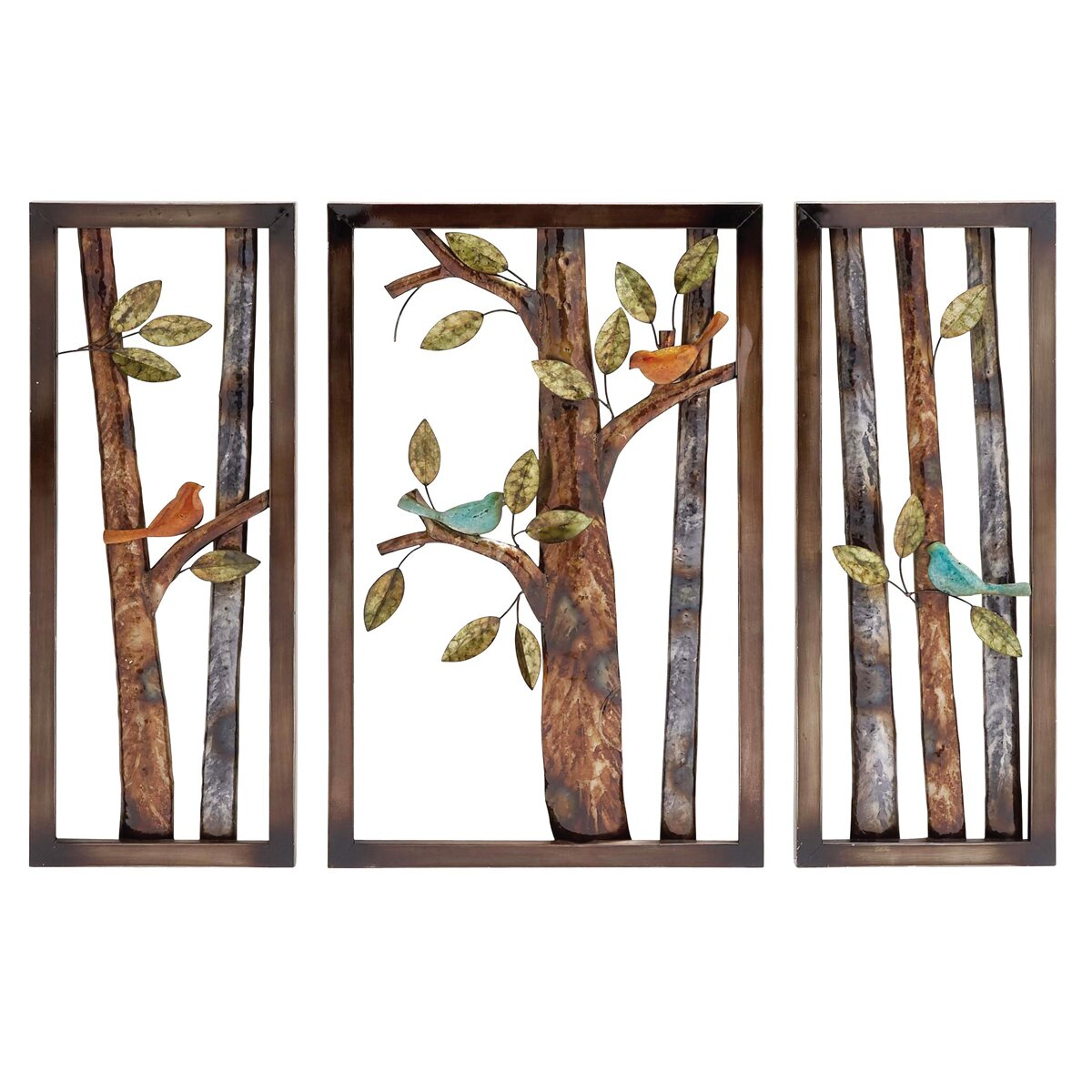 ec world imports 3 piece morning birds botanical wall. Black Bedroom Furniture Sets. Home Design Ideas