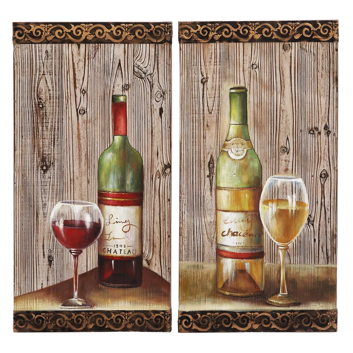 Ec world imports urban designs 2 piece le chateu wine for Wall decor wine bottles