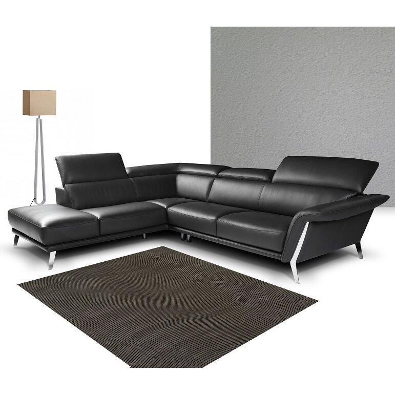 J M Furniture Heni Premium Leather Sectional Wayfair