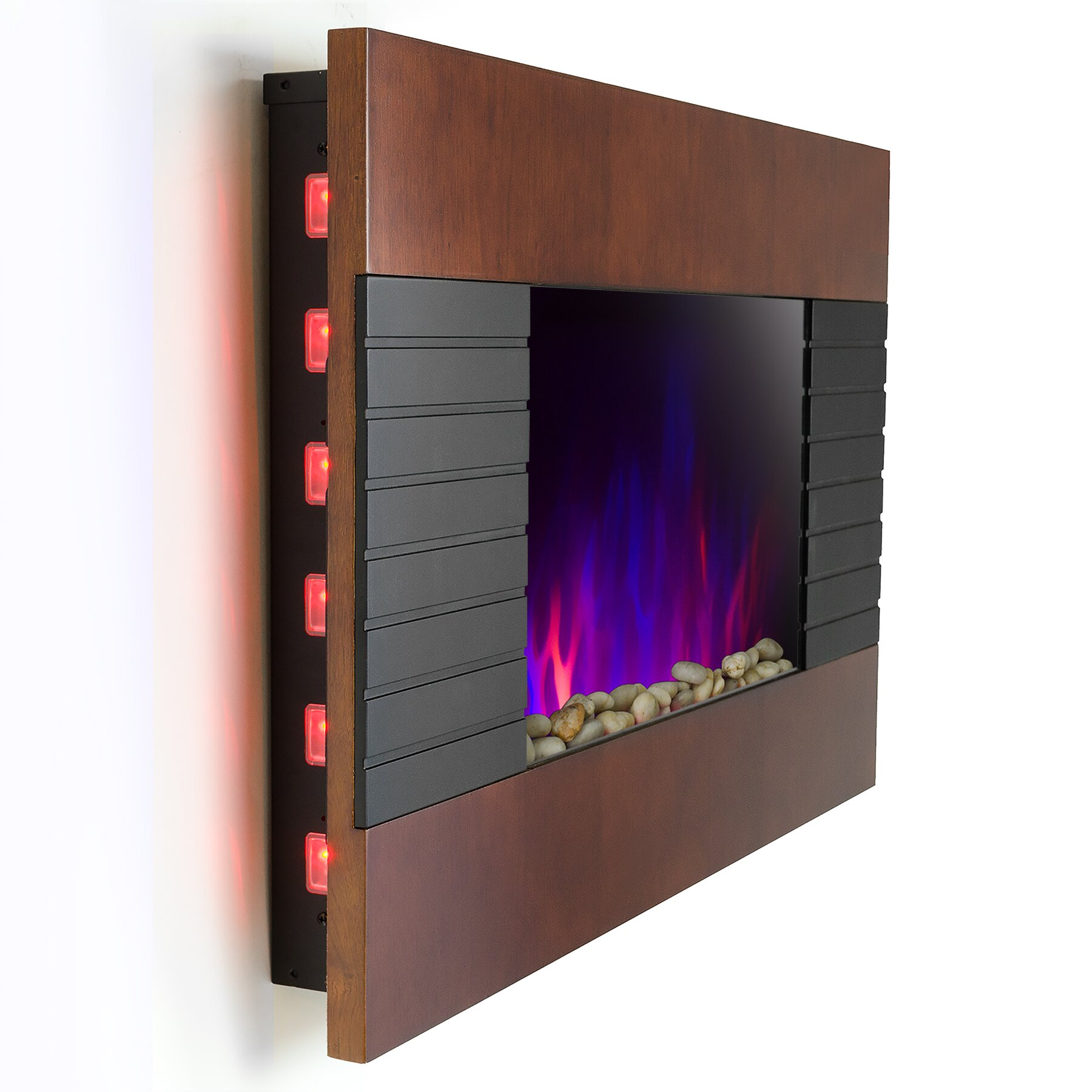 Goldenvantage Pebble And Log Interchangeable Wall Mount Electric Fireplace Reviews