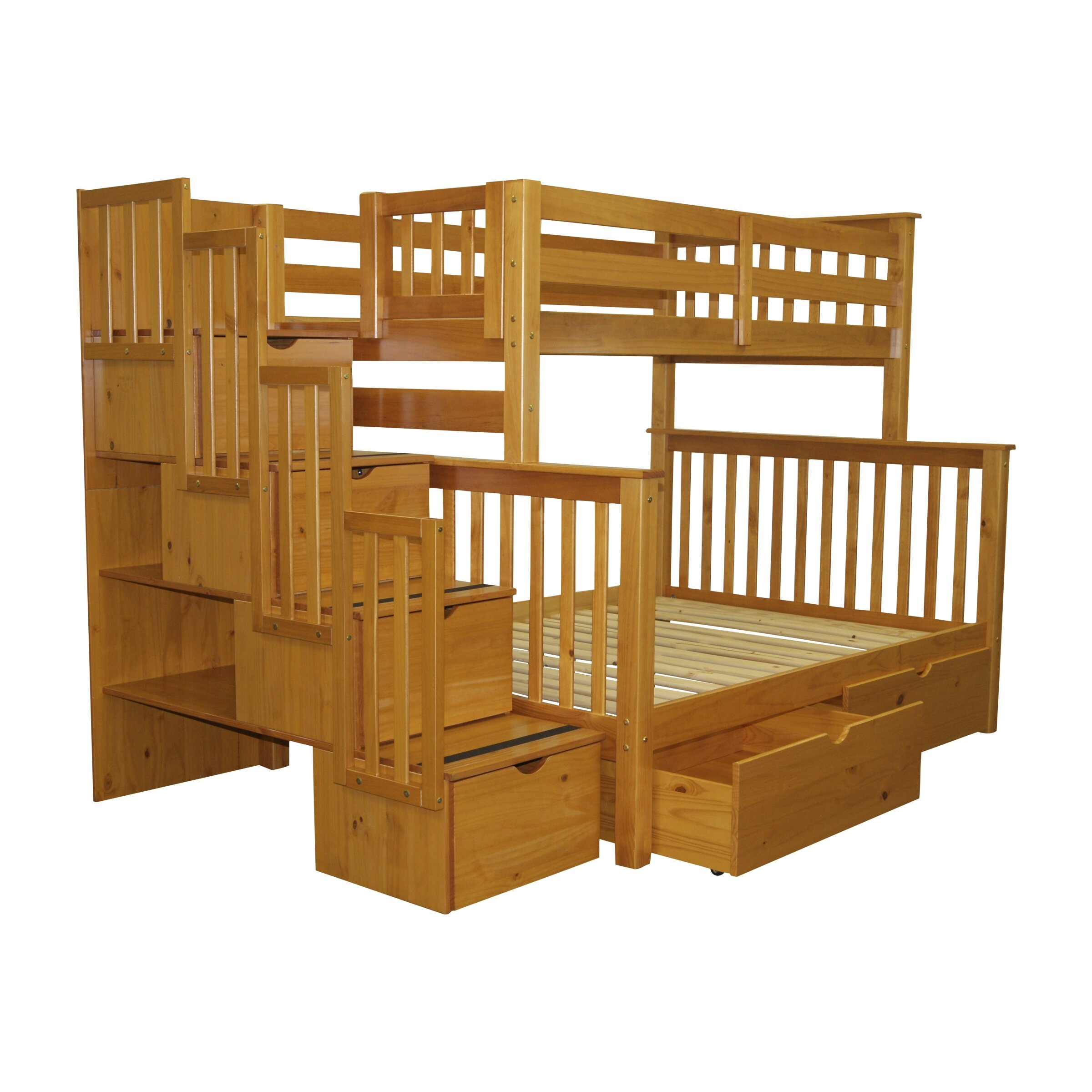 Bed Over Stair Box With Storage And Stairs: Bedz King Twin Over Full Bunk Bed With Storage & Reviews