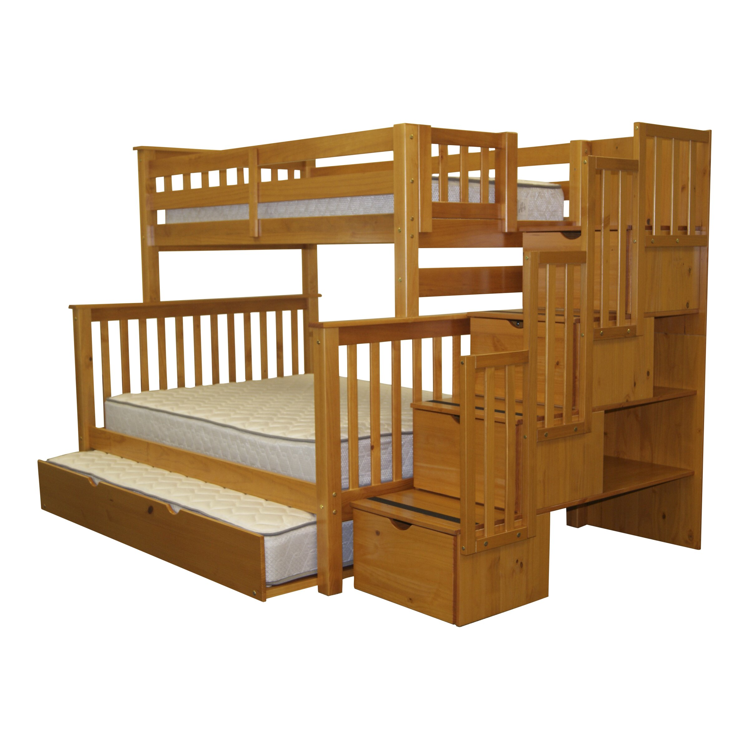 Bedz King Twin Over Full Bunk Bed With Drawer