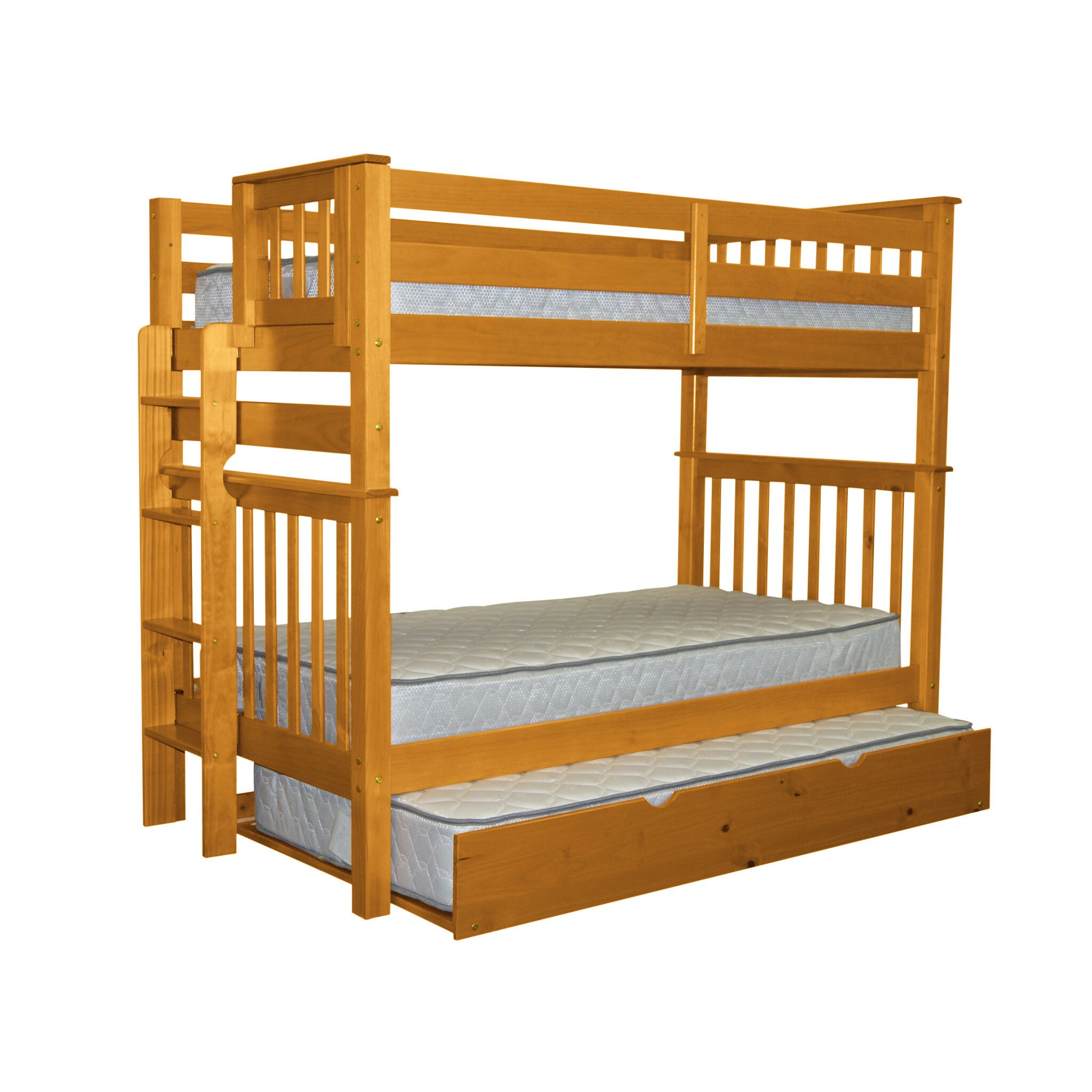 Bedz King Mission Twin Over Twin Bunk Bed With Trundle