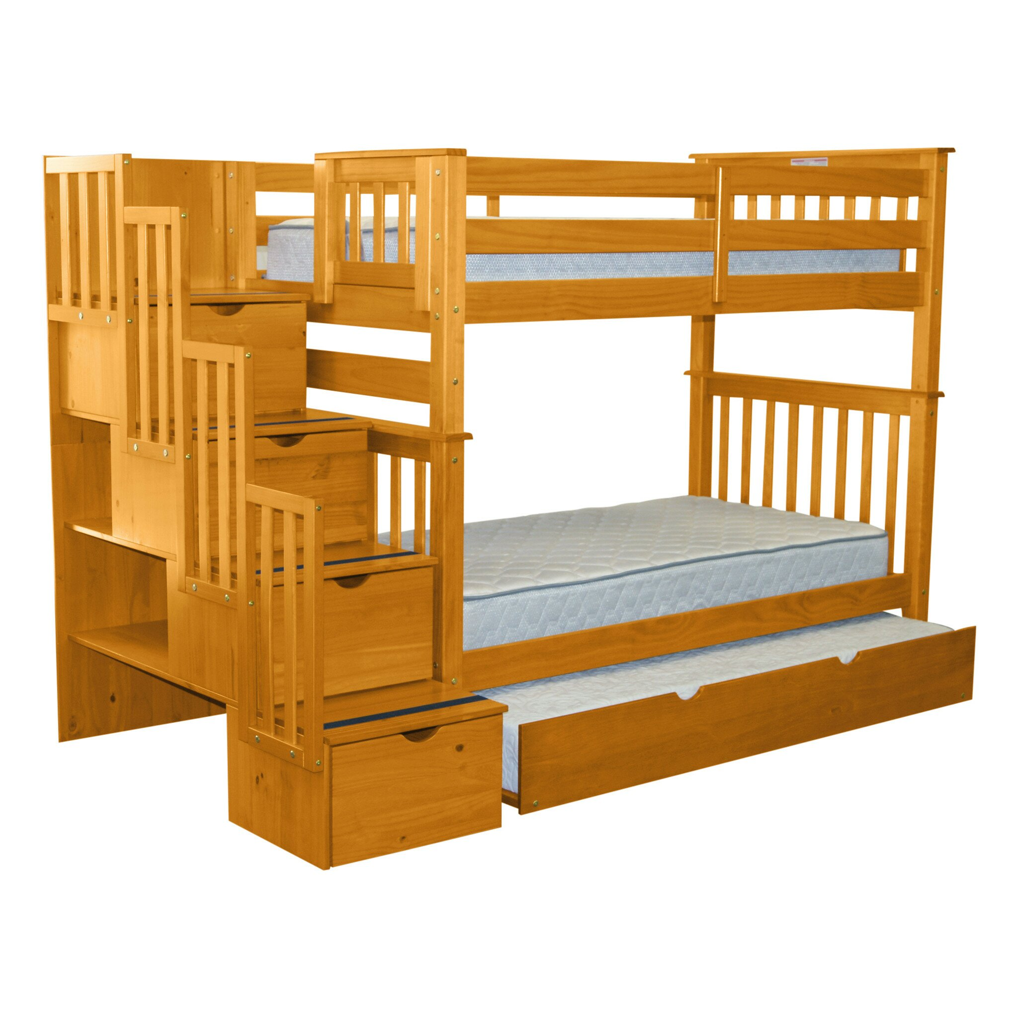 Bedz king twin bunk bed with trundle reviews wayfair for Loft bed with trundle