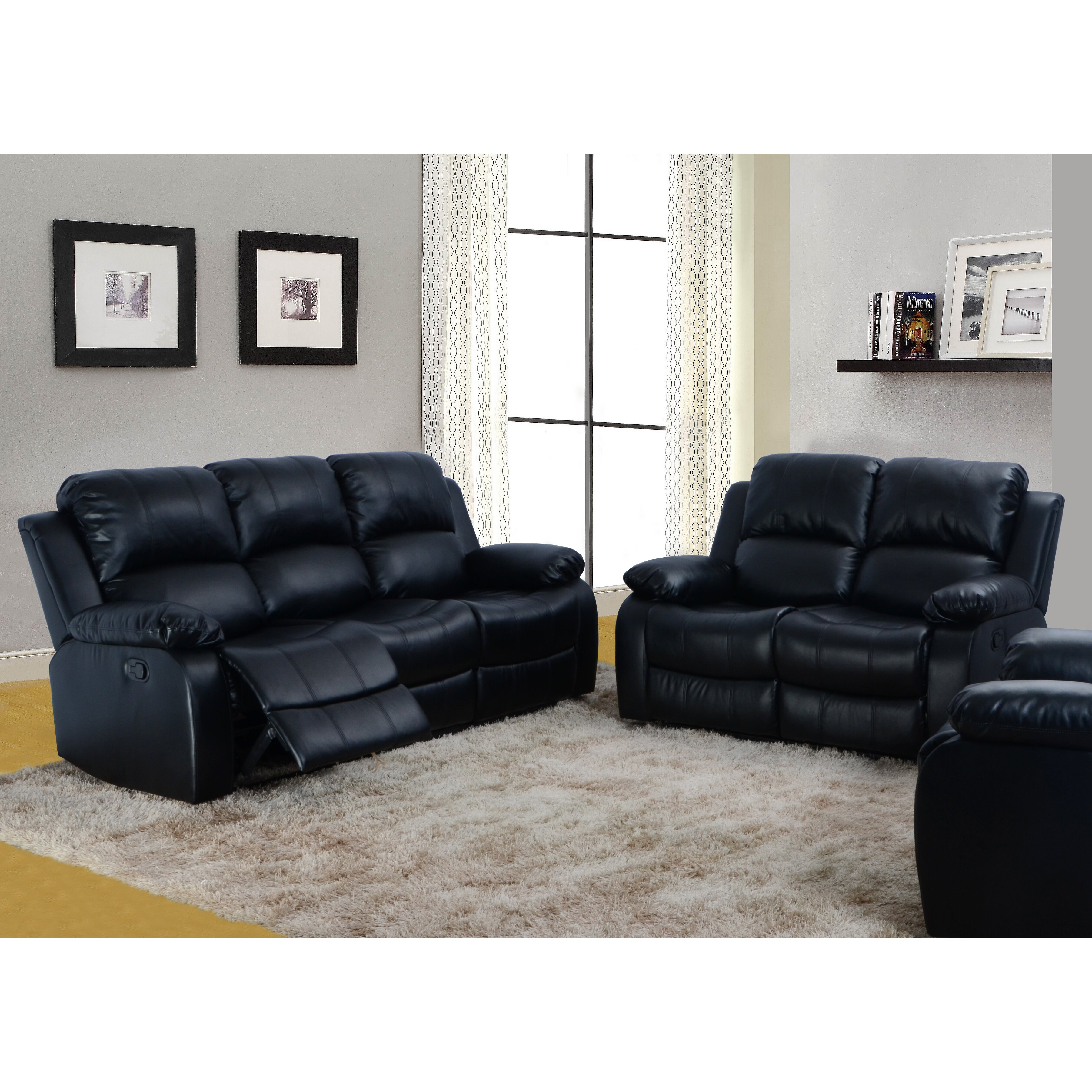 Beverly fine furniture denver 2 piece bonded leather reclining living room sofa set reviews 2 piece leather living room set