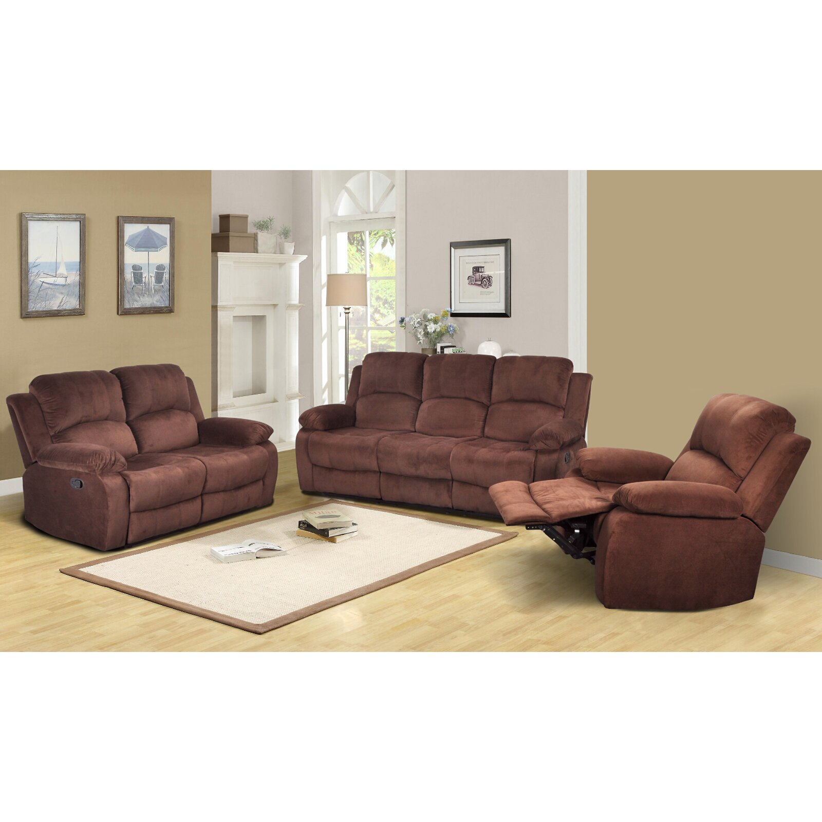 Beverly fine furniture denver 3 piece microfiber reclining for Living room 3 piece sets