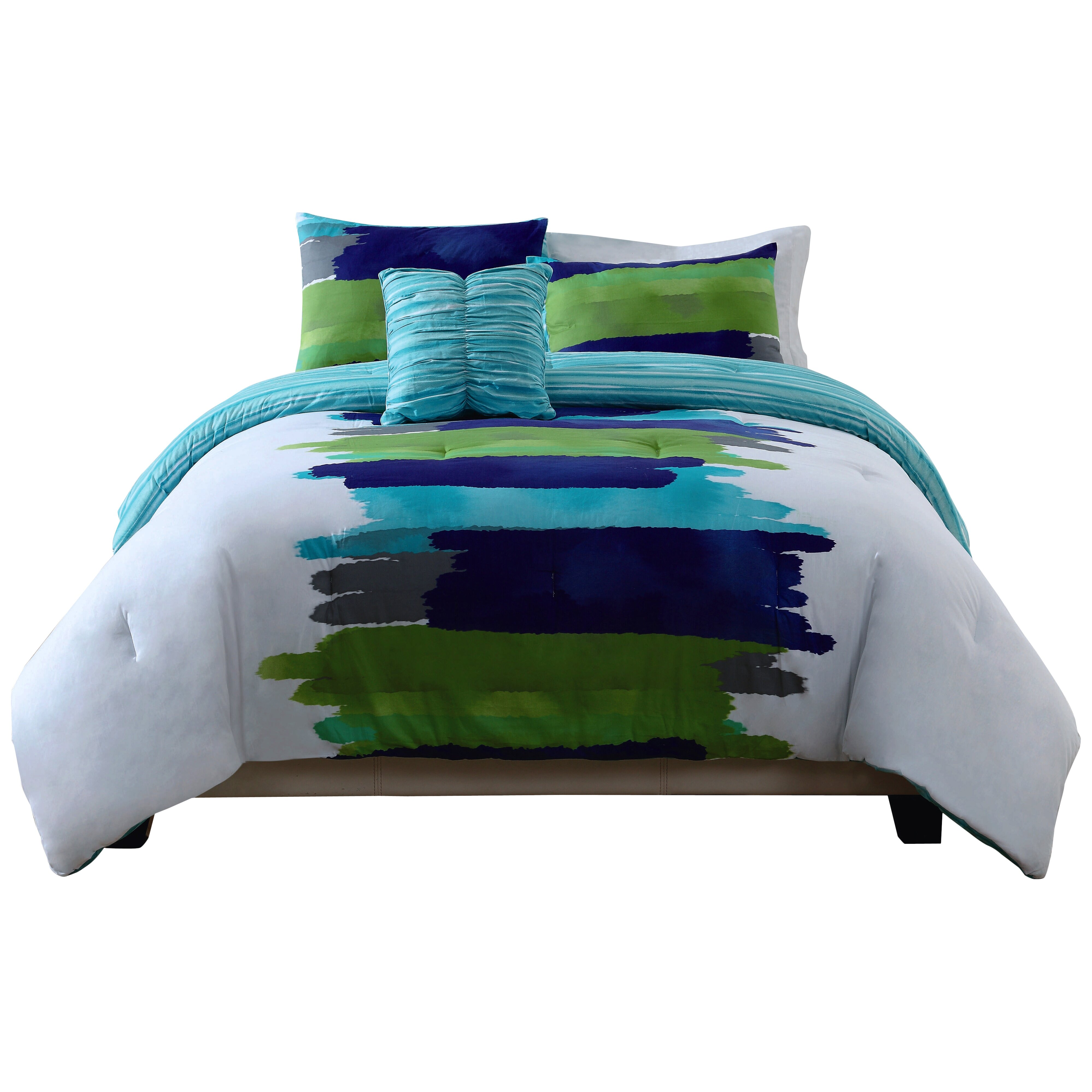 style 212 reversible comforter set in blue green reviews wayfair. Black Bedroom Furniture Sets. Home Design Ideas