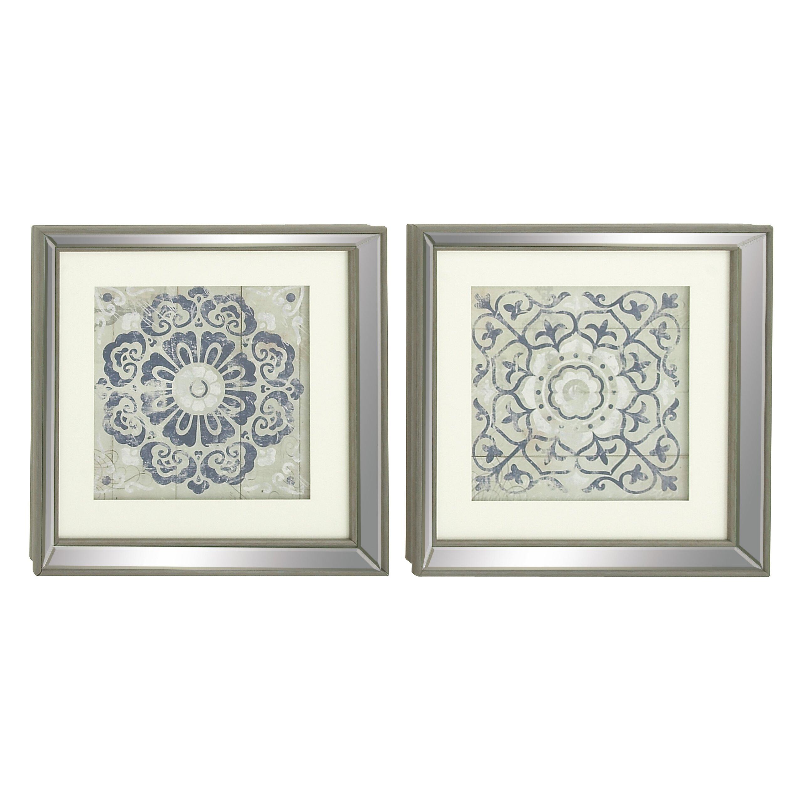 Cole Grey 2 Piece Polystone Mirror Framed Wall Art Set