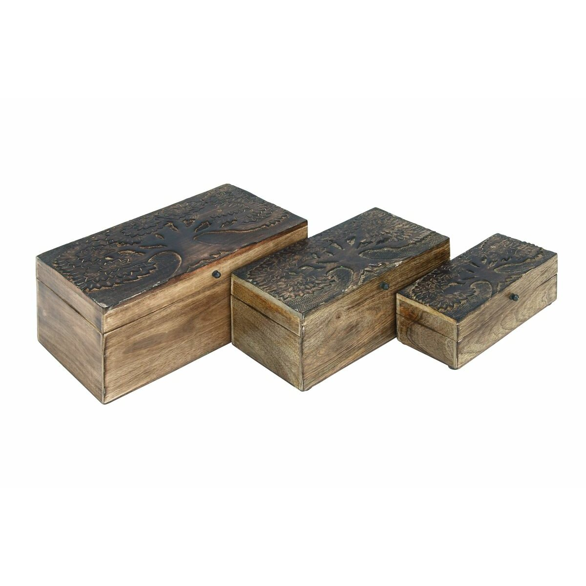Cole grey 3 piece tree wood box set wayfair for Decor containers coles