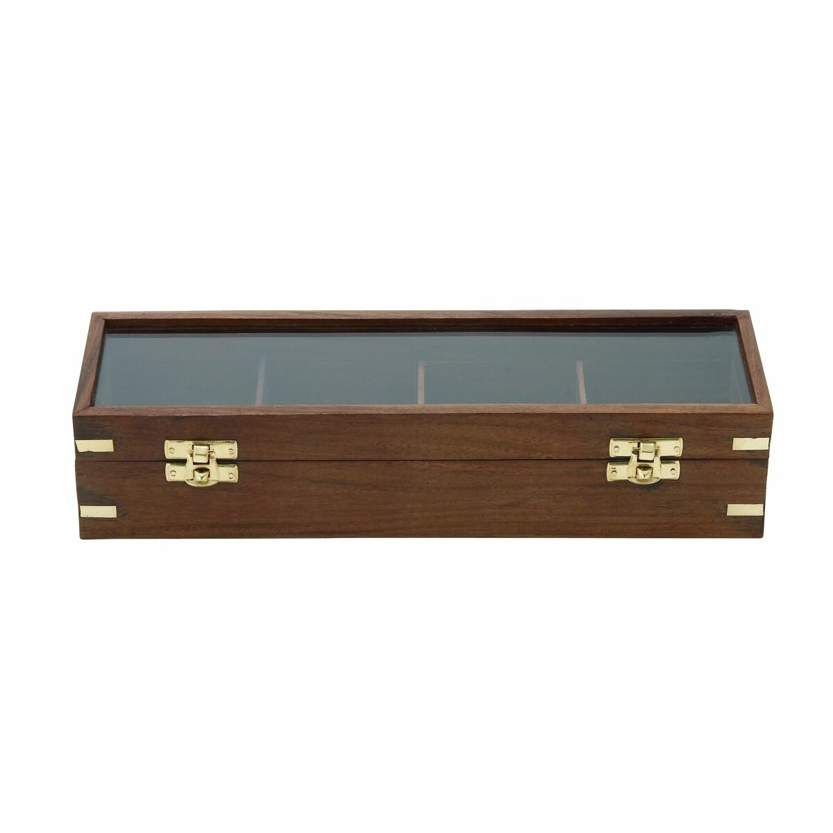 Cole grey wood glass box wayfair for Decor containers coles