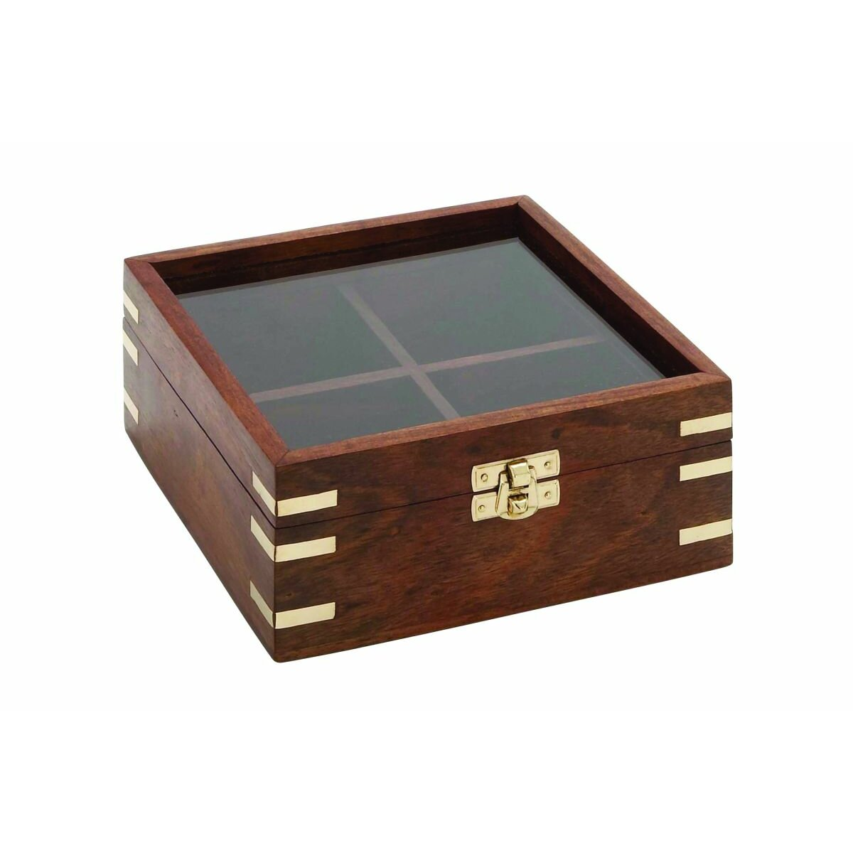 Cole grey wood glass box reviews wayfair for Decor containers coles