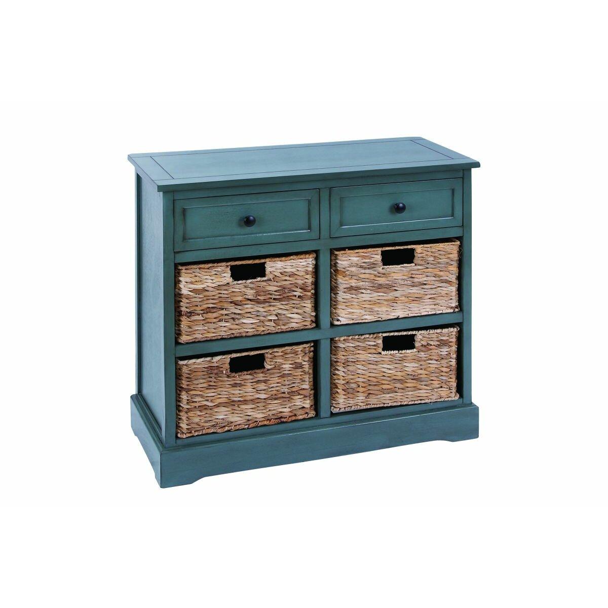 Grey wicker basket drawers : Cole grey drawer wood wicker basket dresser wayfair