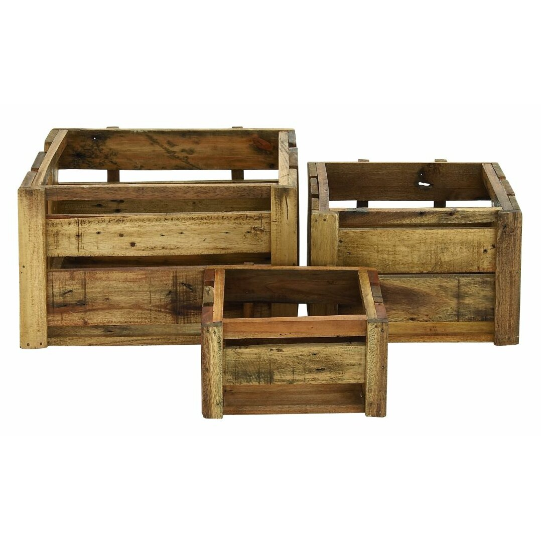 Cole grey 3 piece wood storage crate set wayfair for Decor containers coles