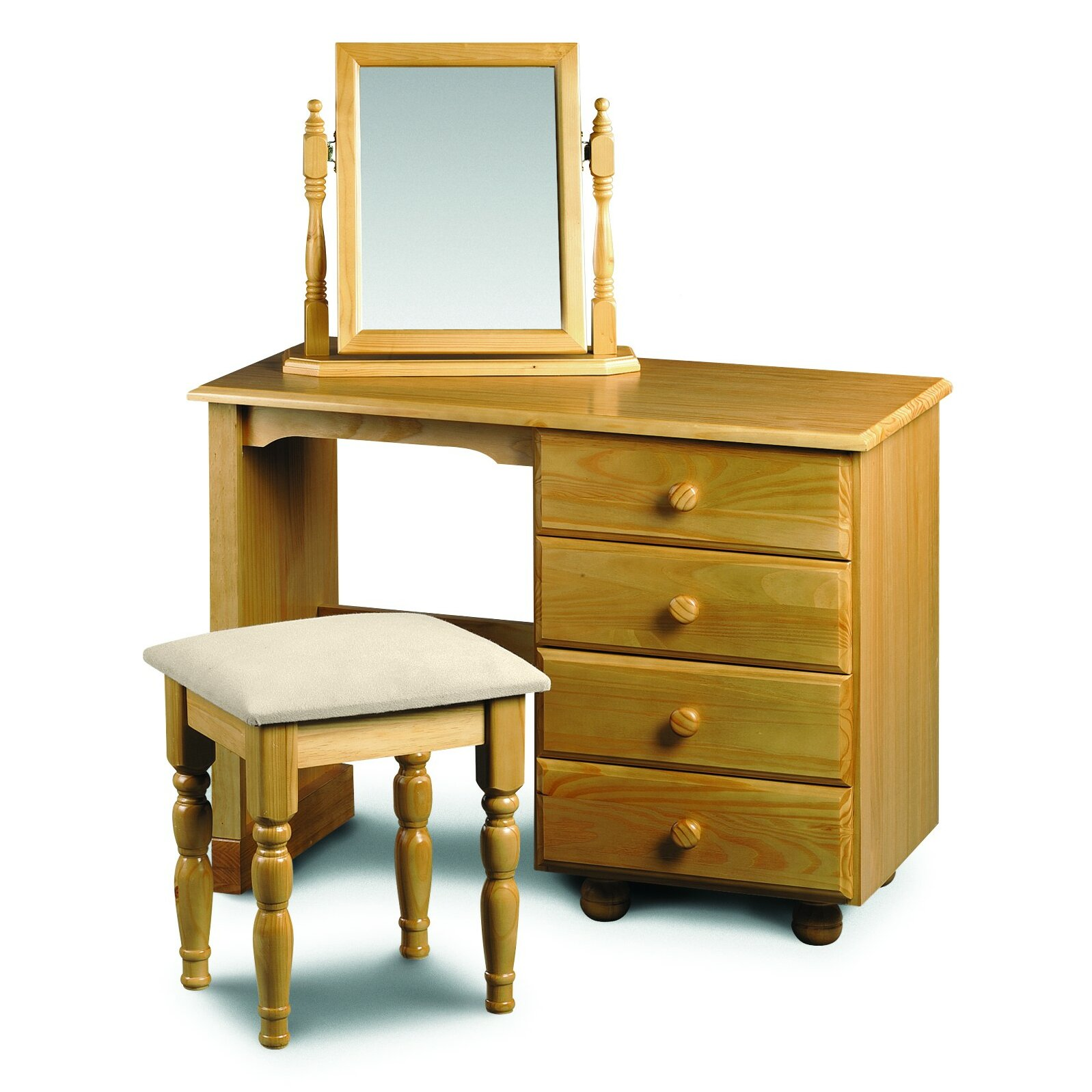 All home woodward 4 drawer single pedestal dressing table for 90cm dressing table