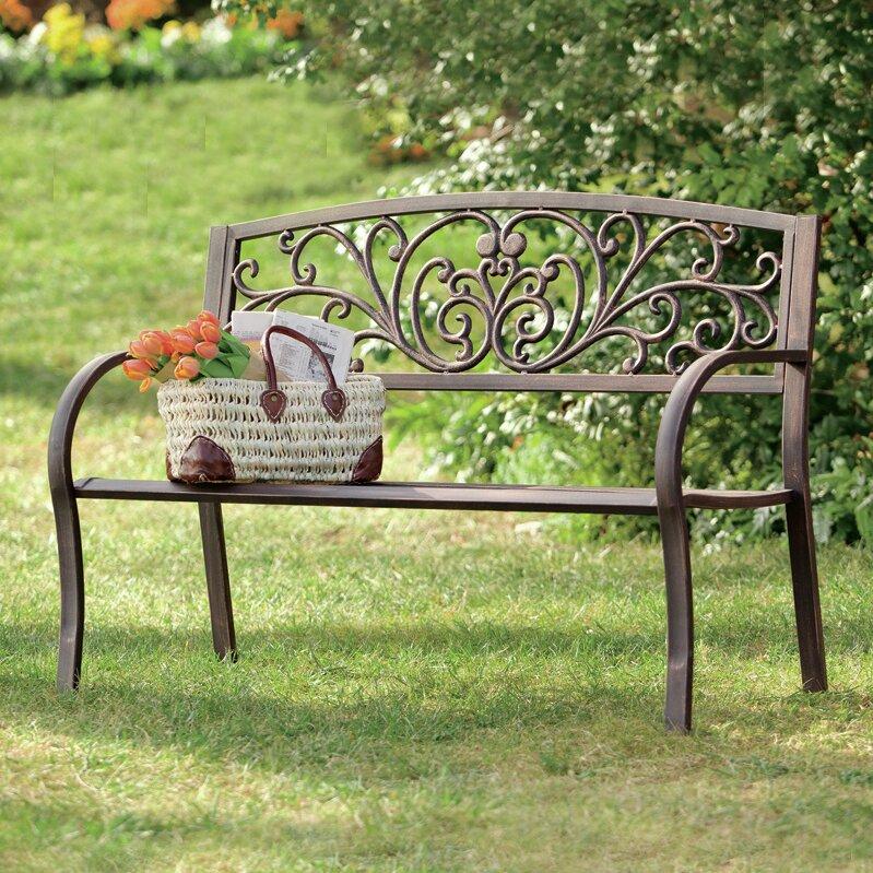 Hearth Bench: Plow & Hearth Blooming Iron Garden Bench & Reviews