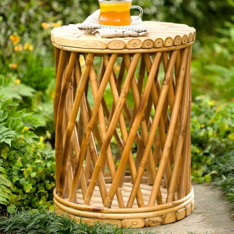 Plow Amp Hearth Bamboo Drum Garden Stool Amp Reviews Wayfair Ca