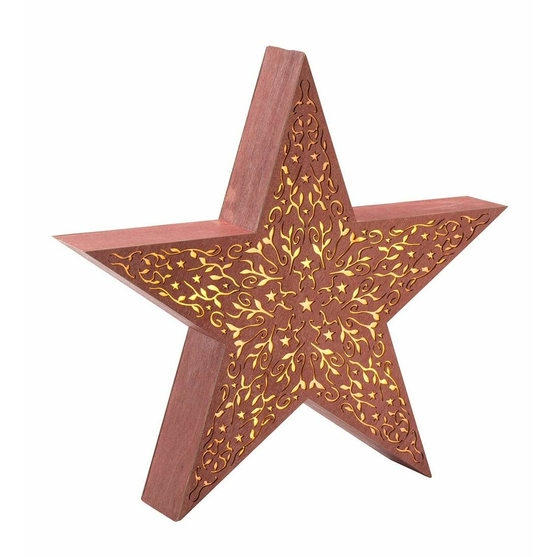 Plow Hearth Decorative Large Rustic Wood Star Light