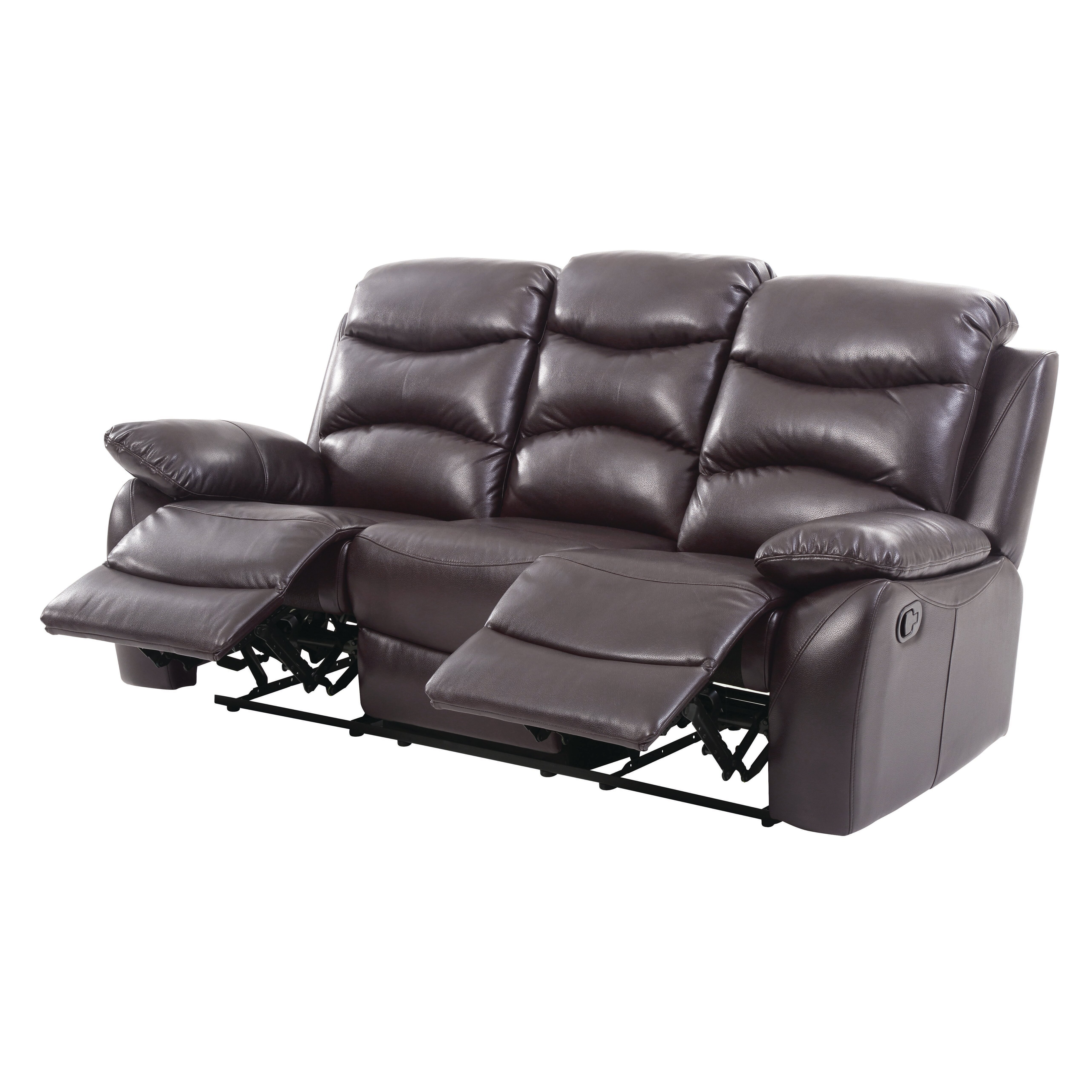 Glory furniture mansfield double reclining leather sofa for Double leather sofa