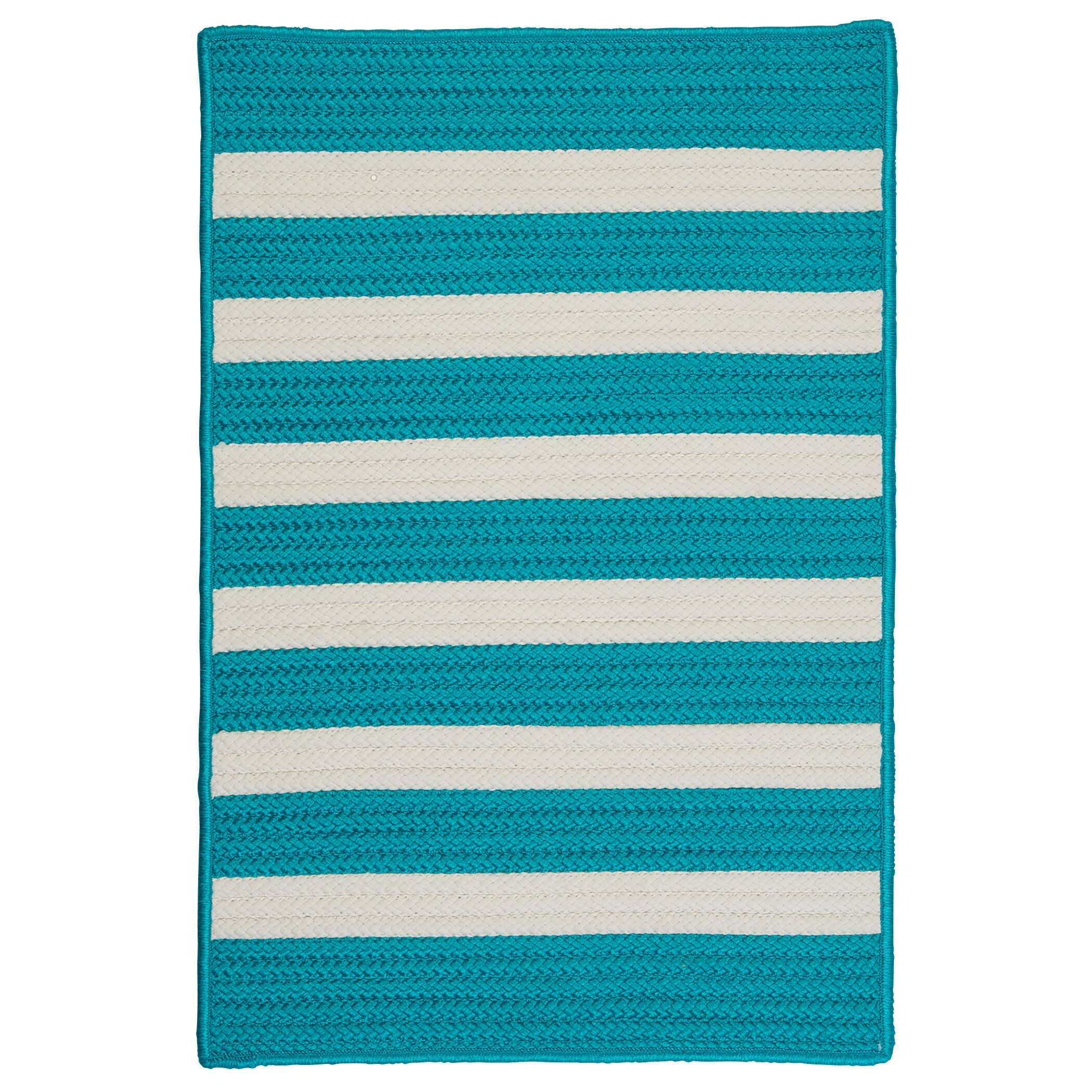 Colonial Mills Stripe It Turquoise Indoor Outdoor Area Rug