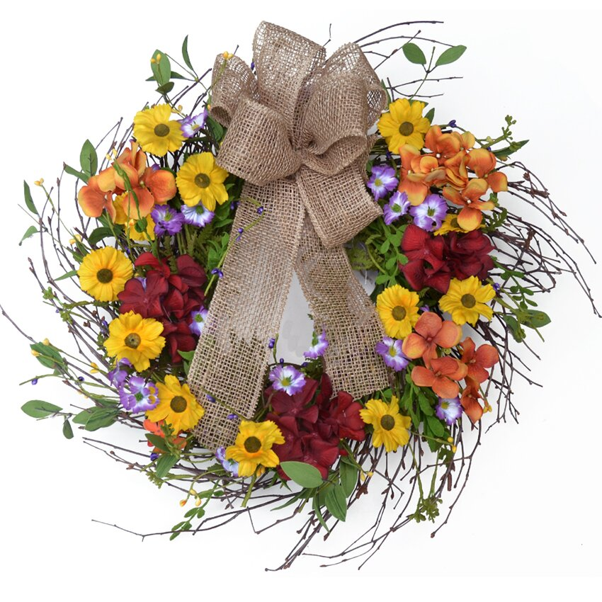 Floral Home Decor Wispy Autumn Hydrangea Wreath With
