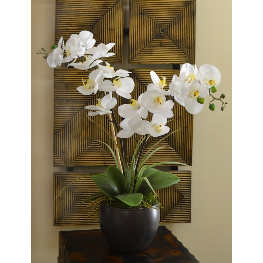 Floral Home Decor Silk Orchid Design In Bowl & Reviews