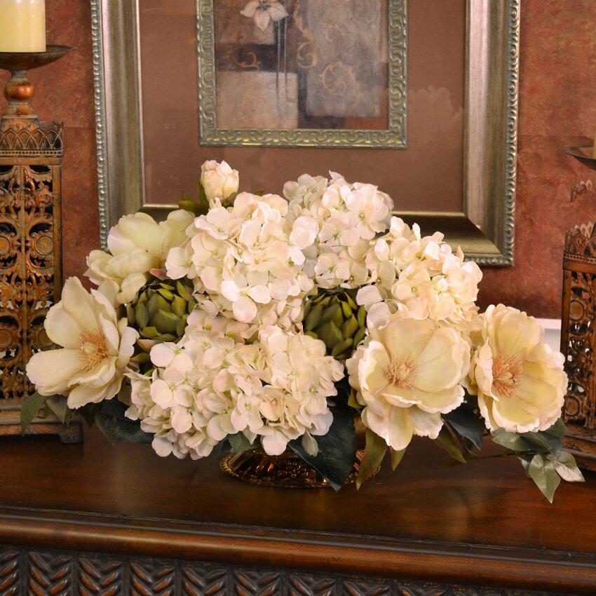 Floral home decor magnolia and hydrangea silk