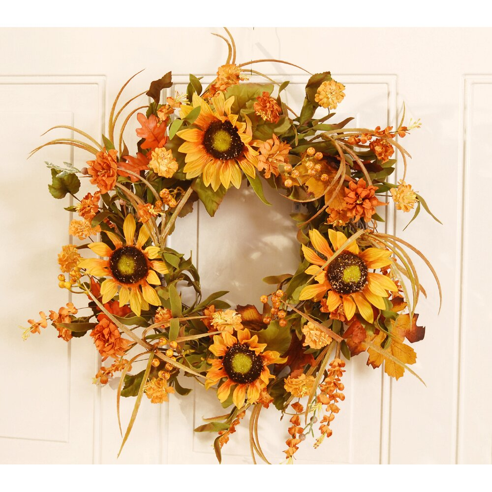 "Floral Home Decor 19"" Fall Sunflower Wreath & Reviews"