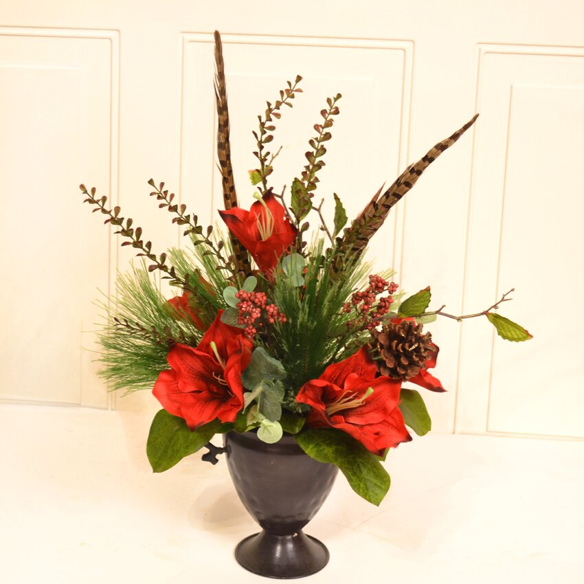 Floral home decor amaryllis floral arrangement wayfair for Floral decorations for home