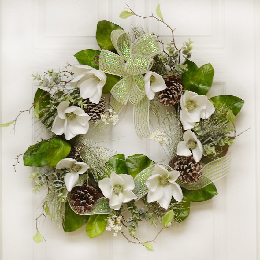 "Floral Home Decor 24"" Magnolia Winter Wreath & Reviews"