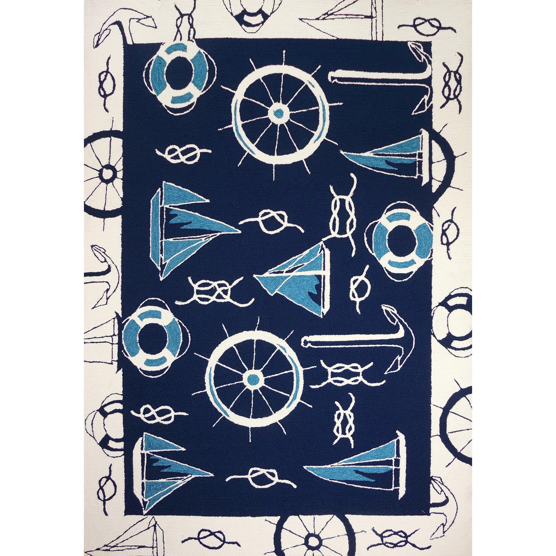 Nautical Blue Rug: Homefires Nautical Blue/Beige Indoor/Outdoor Area Rug
