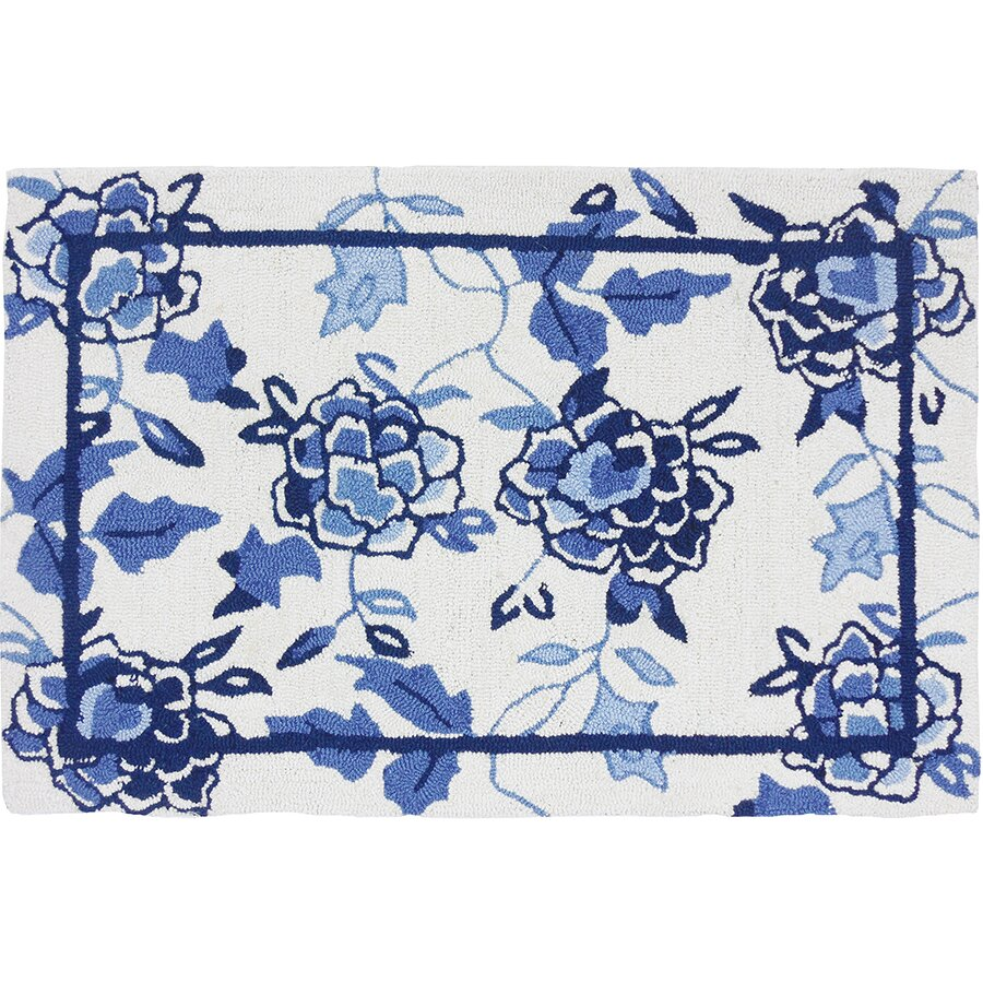 Woolrich Blue And White Floral Rug: Homefires Floral Repeat White/Blue Area Rug & Reviews