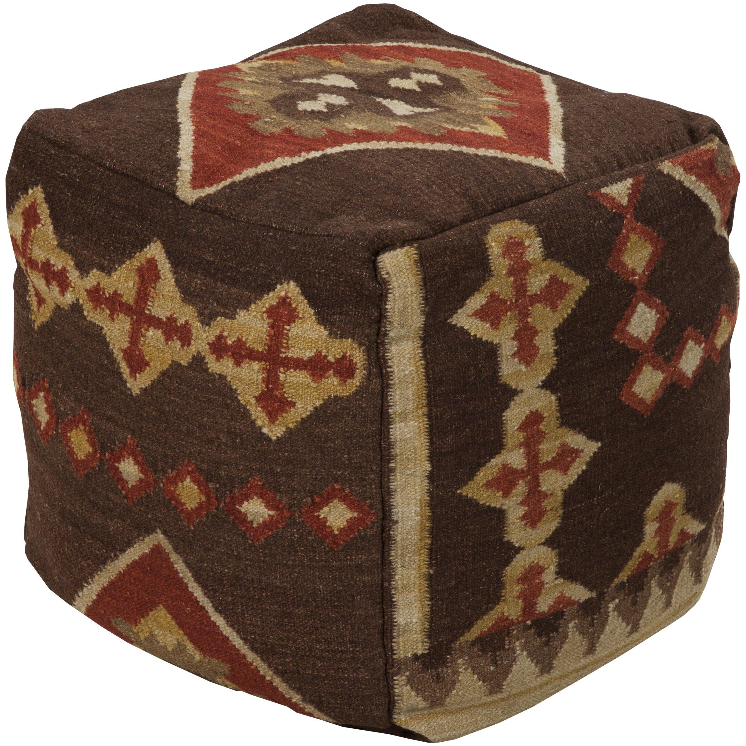surya pouf cube ottoman reviews wayfair. Black Bedroom Furniture Sets. Home Design Ideas