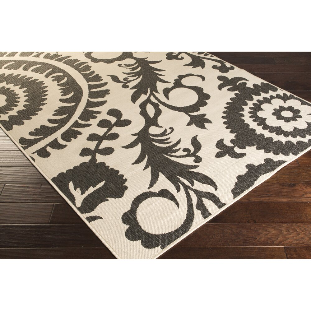 surya alfresco black khaki indoor outdoor area rug