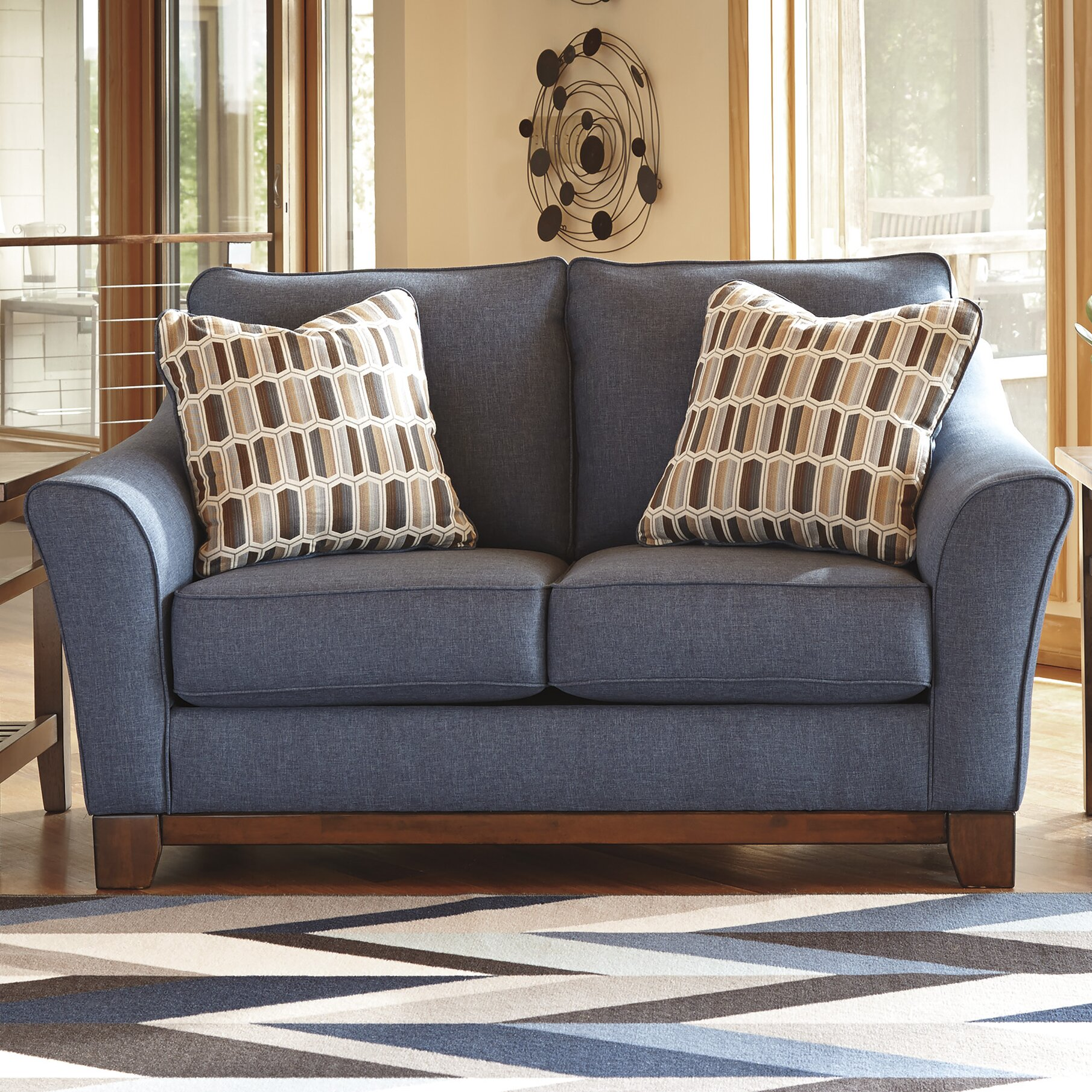 Janley denim sofa loveseat 43807 furniture janley livingroom set in denim Denim loveseat